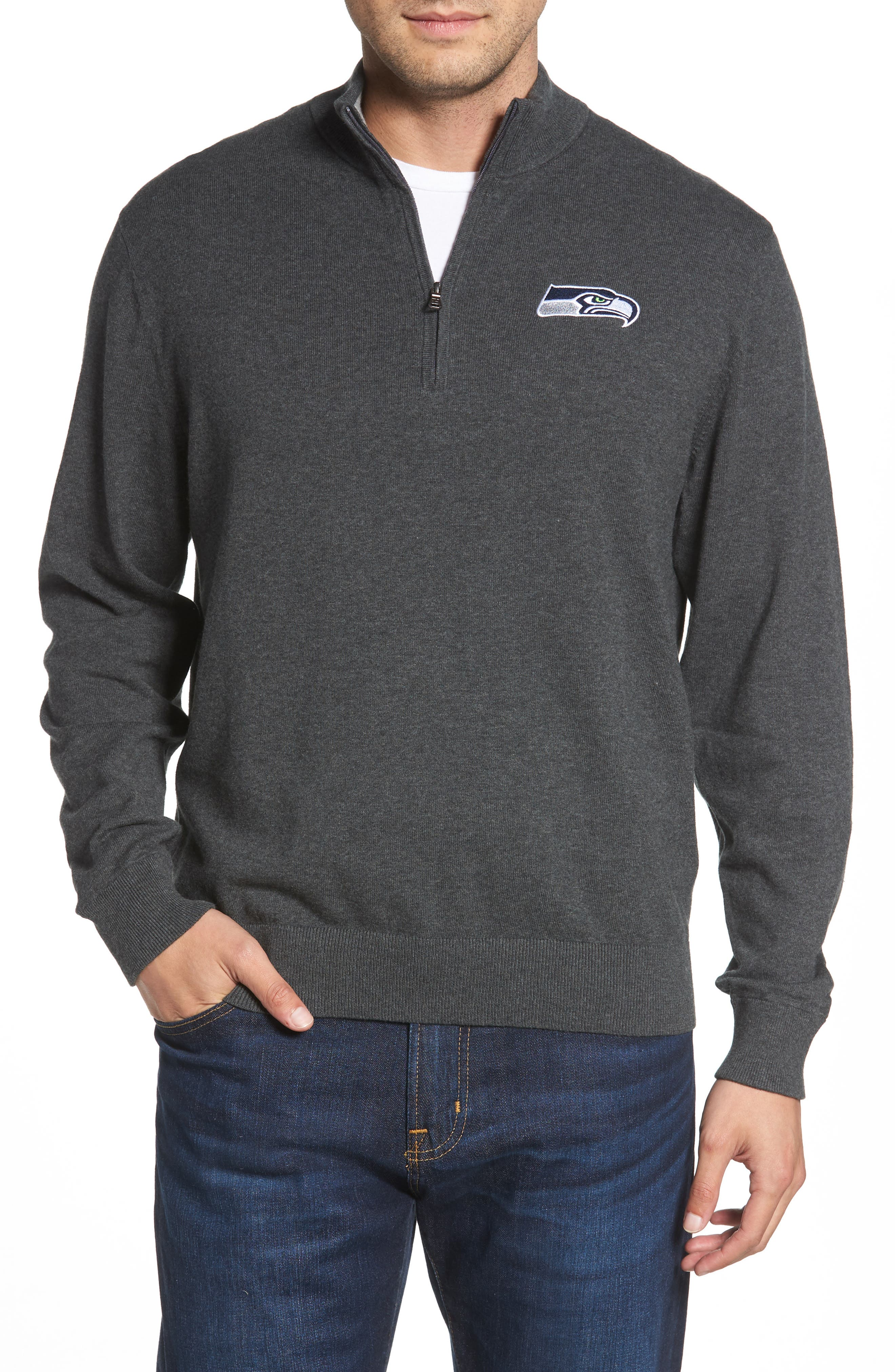 Seattle Seahawks - Lakemont Regular Fit Quarter Zip Sweater,                             Main thumbnail 1, color,                             CHARCOAL HEATHER