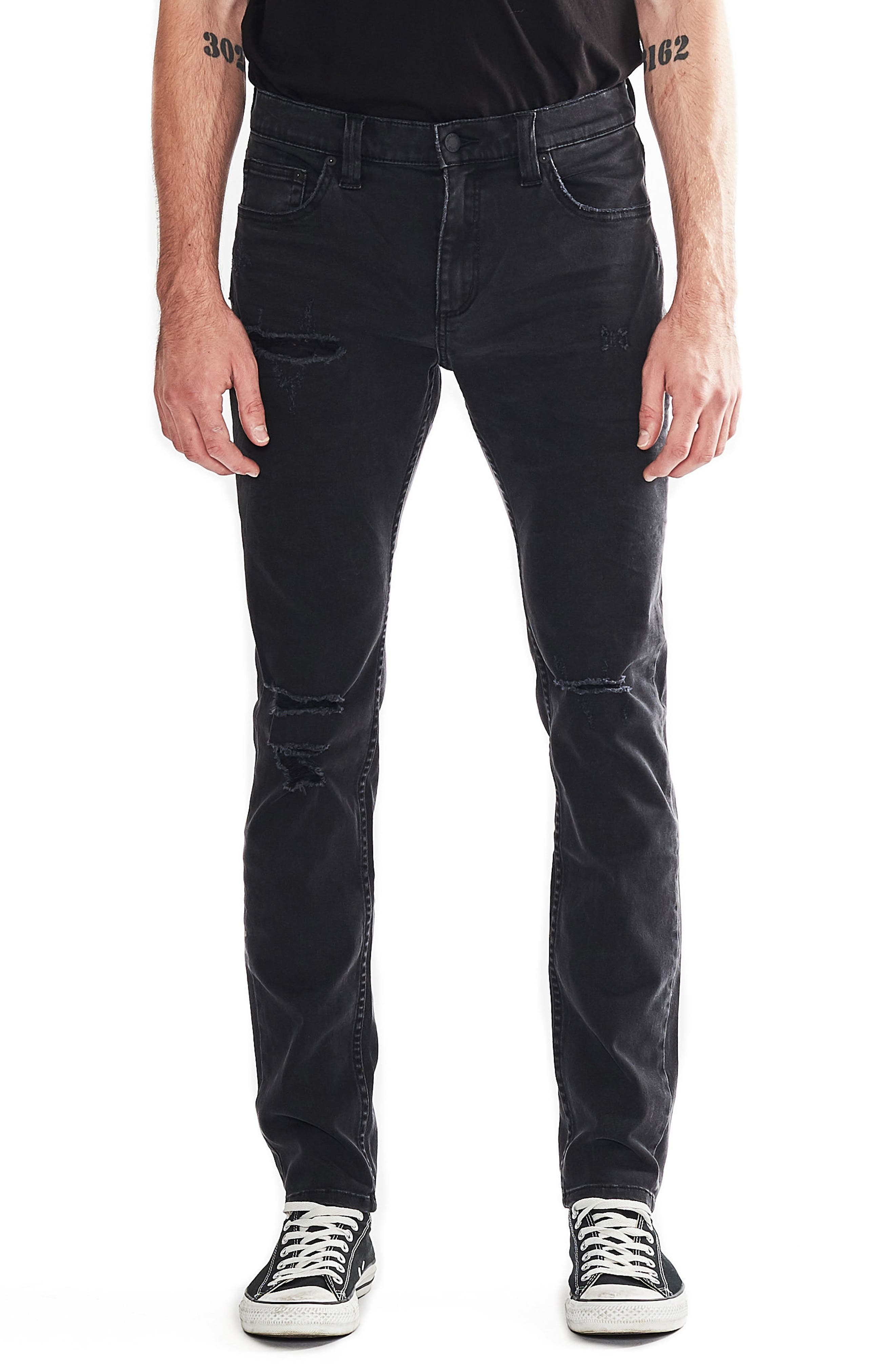 Stinger Skinny Fit Jeans,                             Main thumbnail 1, color,                             BLOWOUT BLACK