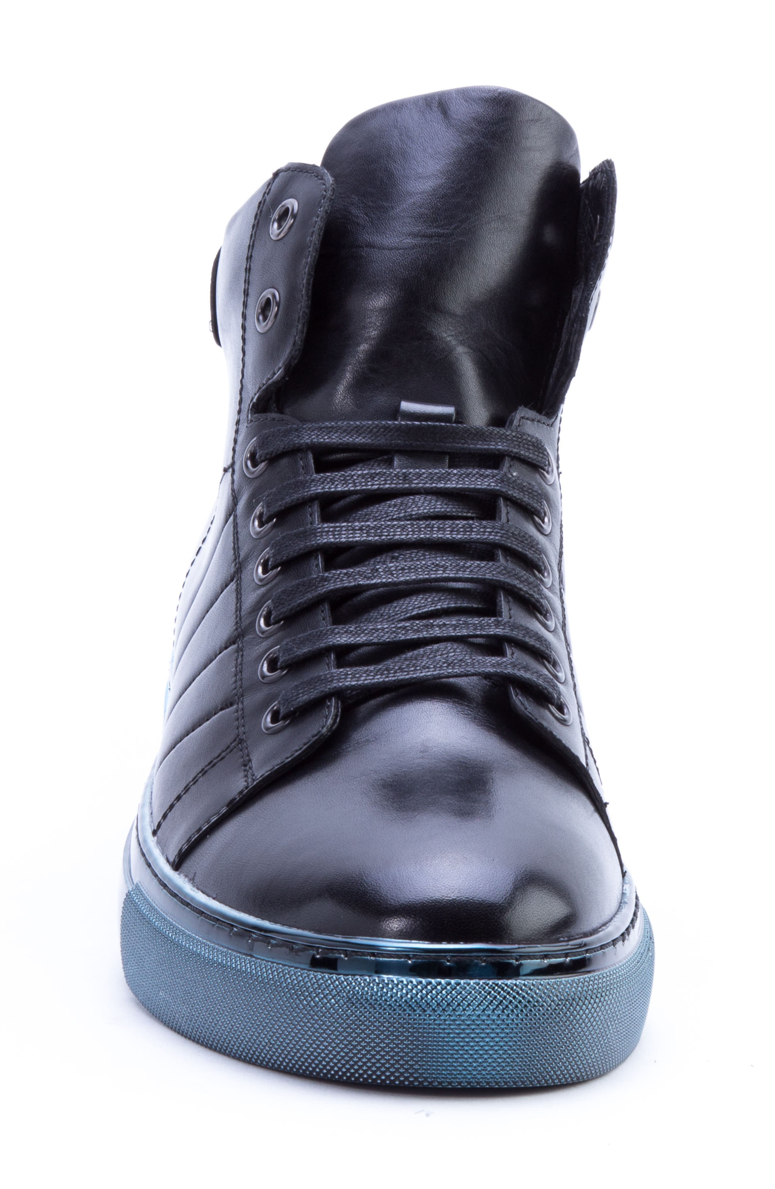 Badgley Mischka Hunter High Top Sneaker,                             Alternate thumbnail 4, color,                             NAVY LEATHER