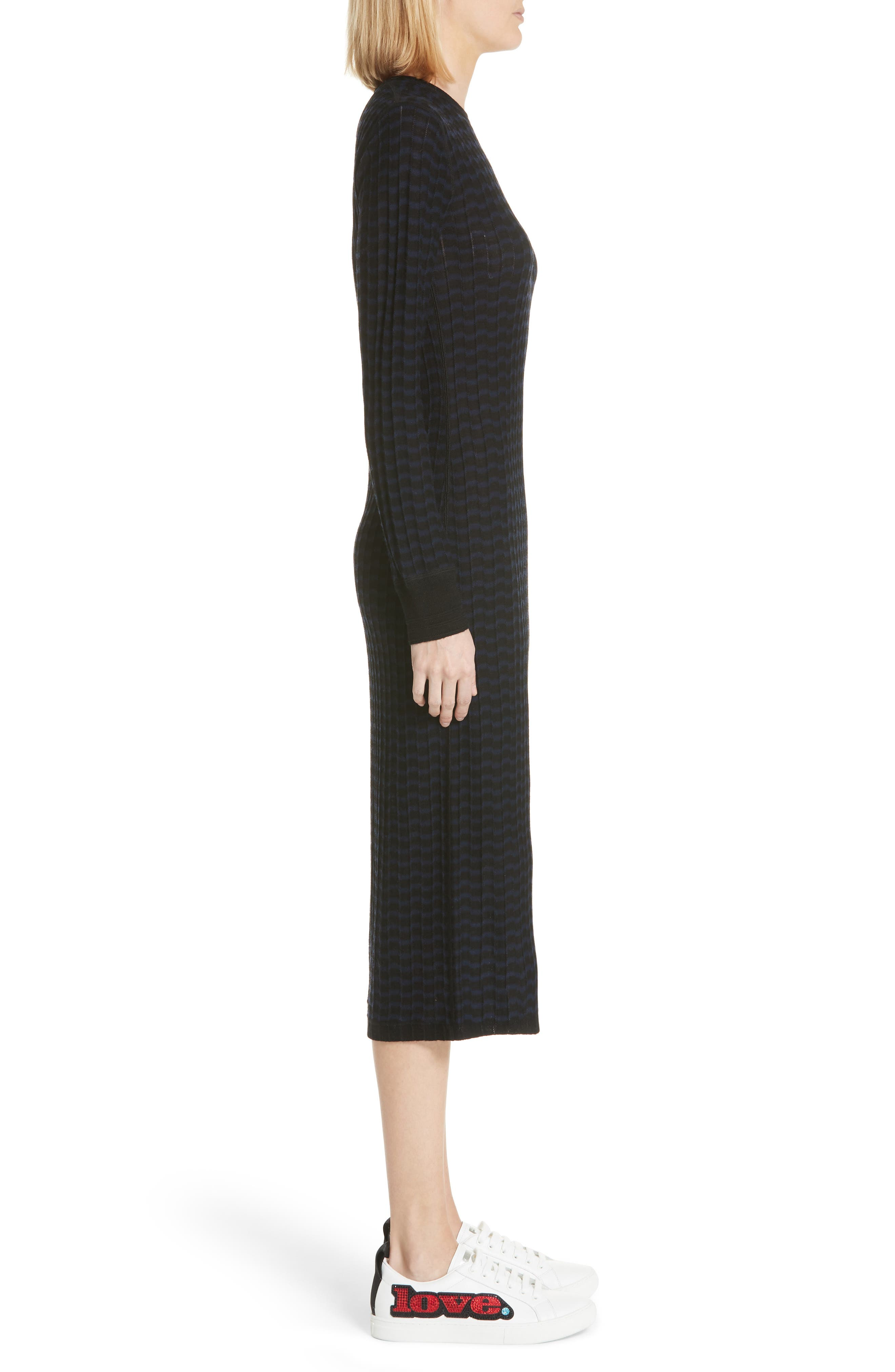 MARC JACOBS,                             Stripe Wool Sweater-Dress,                             Alternate thumbnail 4, color,                             400