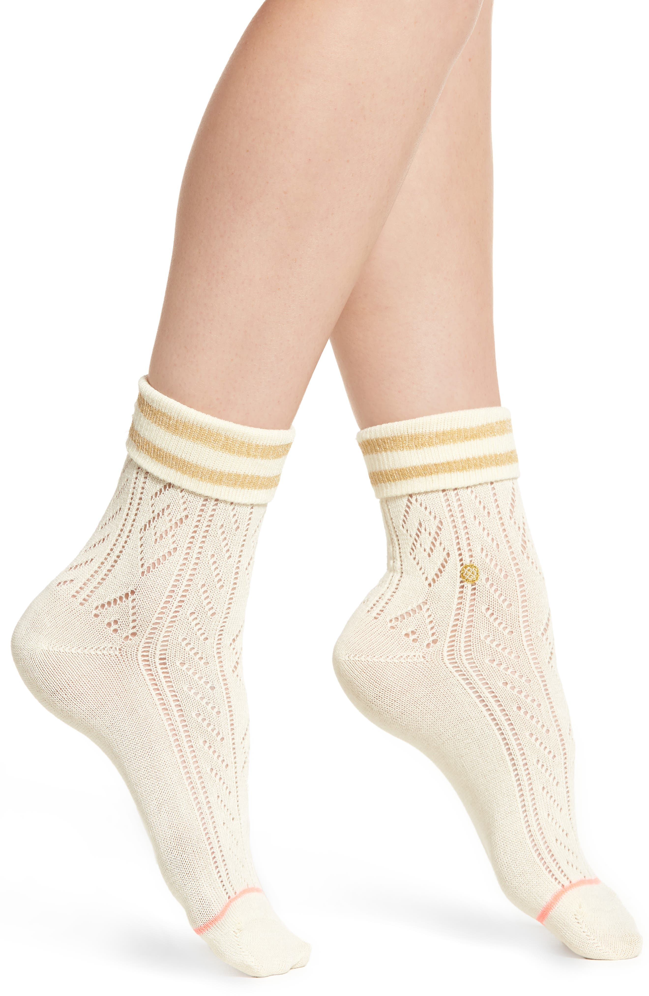 STANCE Divine Pointelle Knit Ankle Socks in Off White