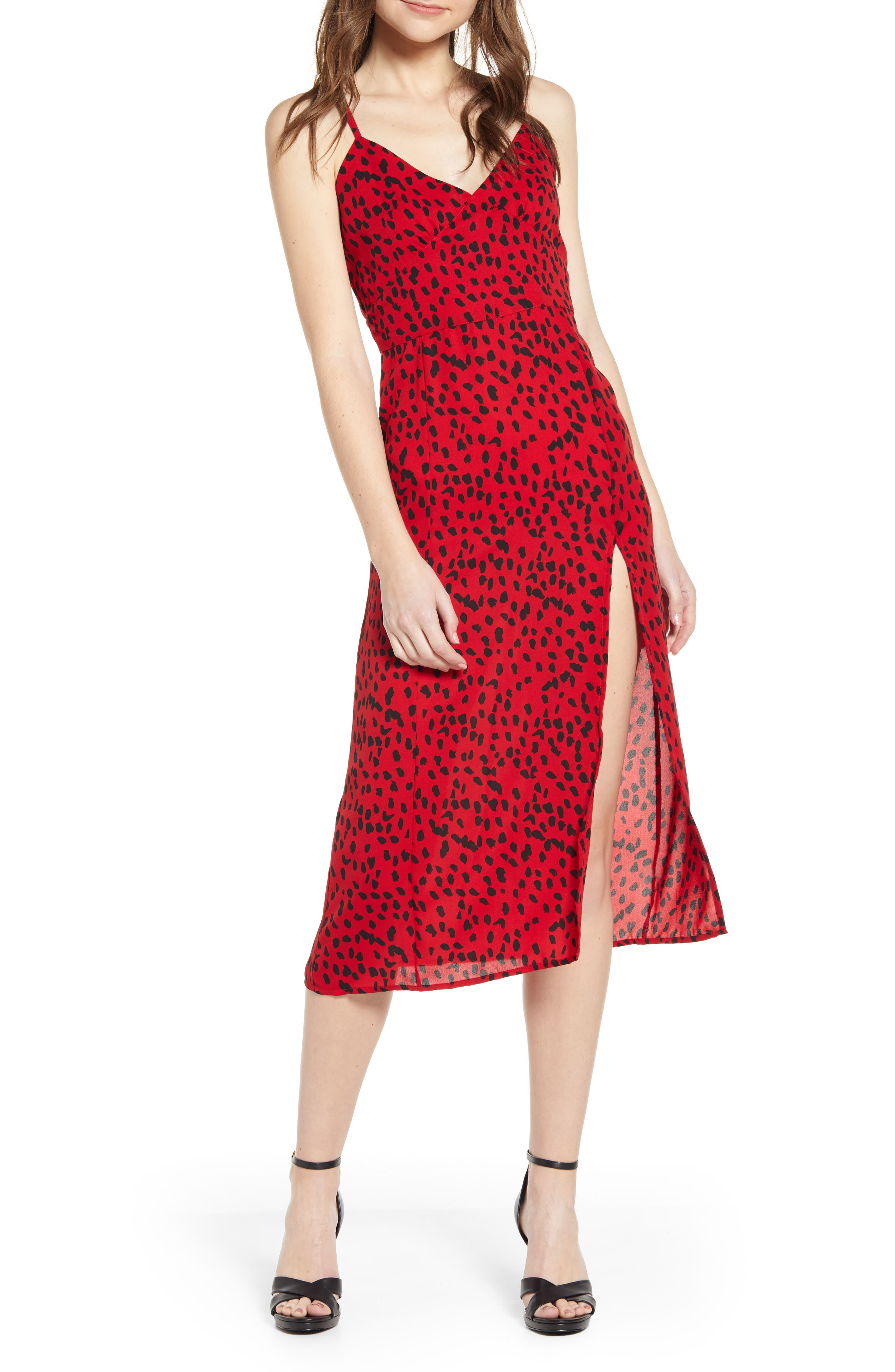 Leith Strappy Slipdress, Red