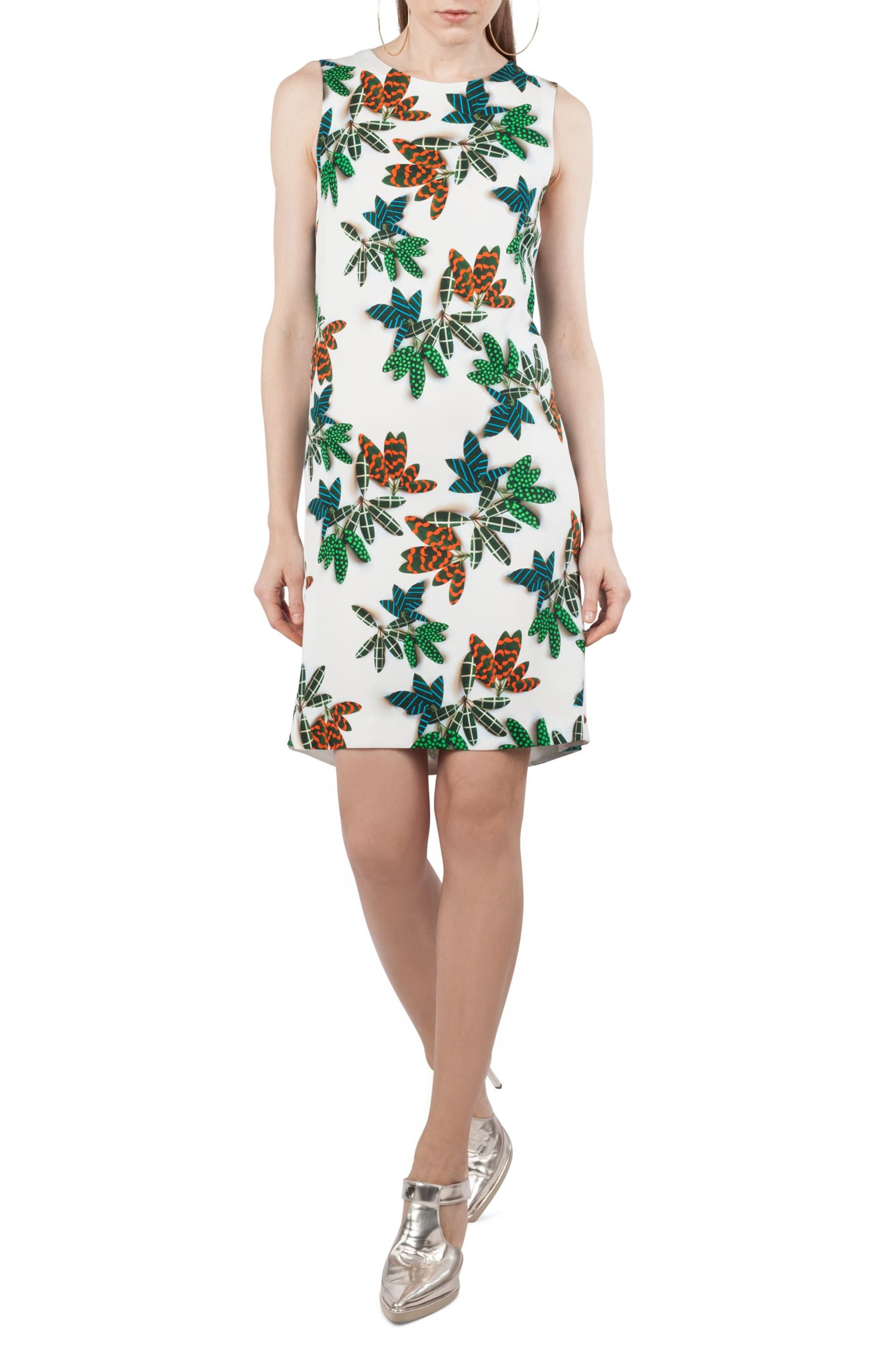 Tropical Print Shift Dress,                             Main thumbnail 1, color,                             115