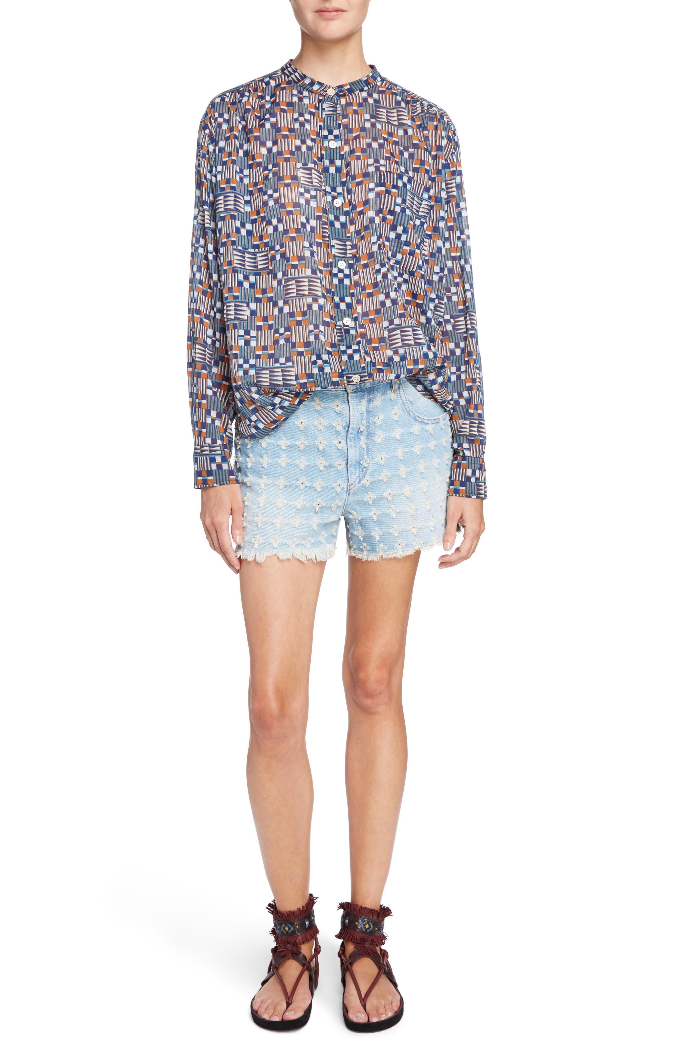 Isabel Marant Étoile Nahla Print Cotton Shirt,                             Alternate thumbnail 6, color,                             400
