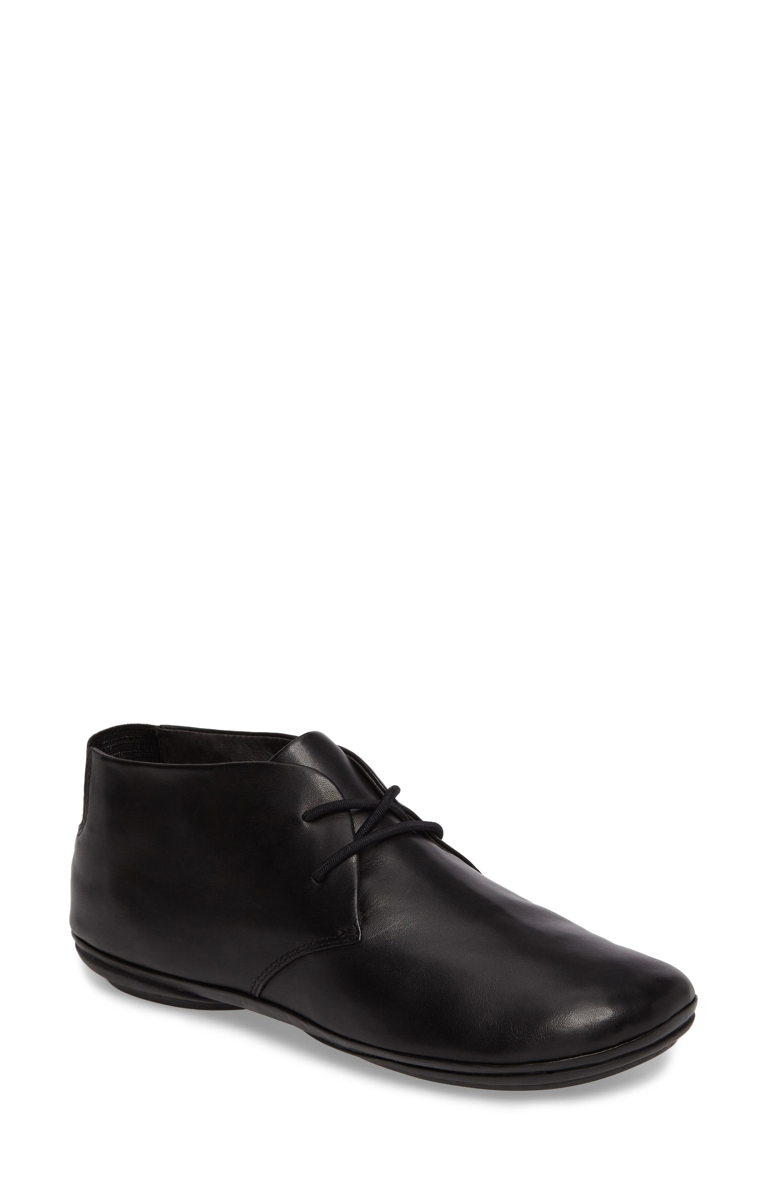 Right Nina Desert Shoe,                             Main thumbnail 1, color,                             BLACK LEATHER