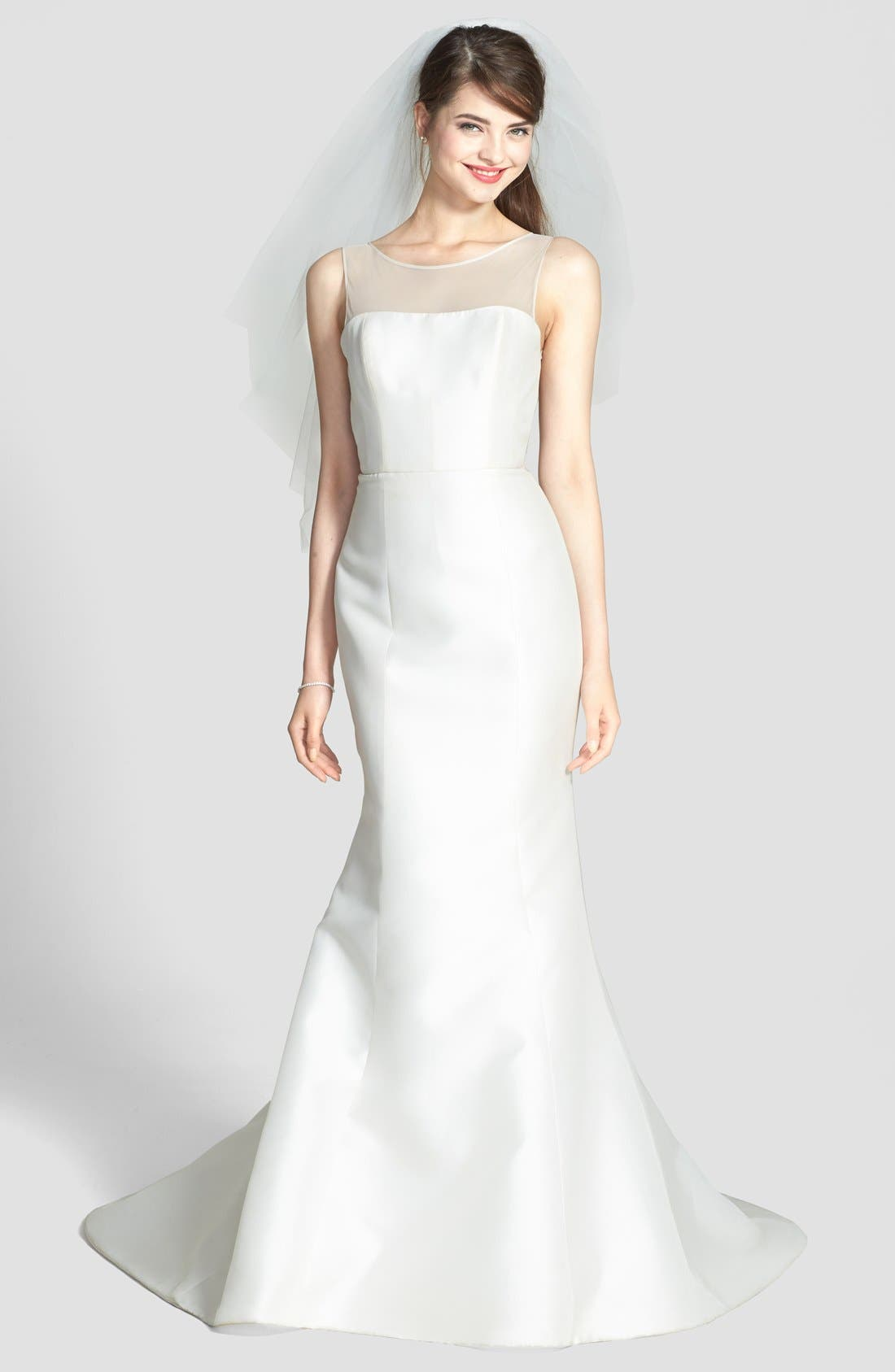 Preston Silk Magnolia Sheath Wedding Dress,                             Alternate thumbnail 6, color,                             IVORY