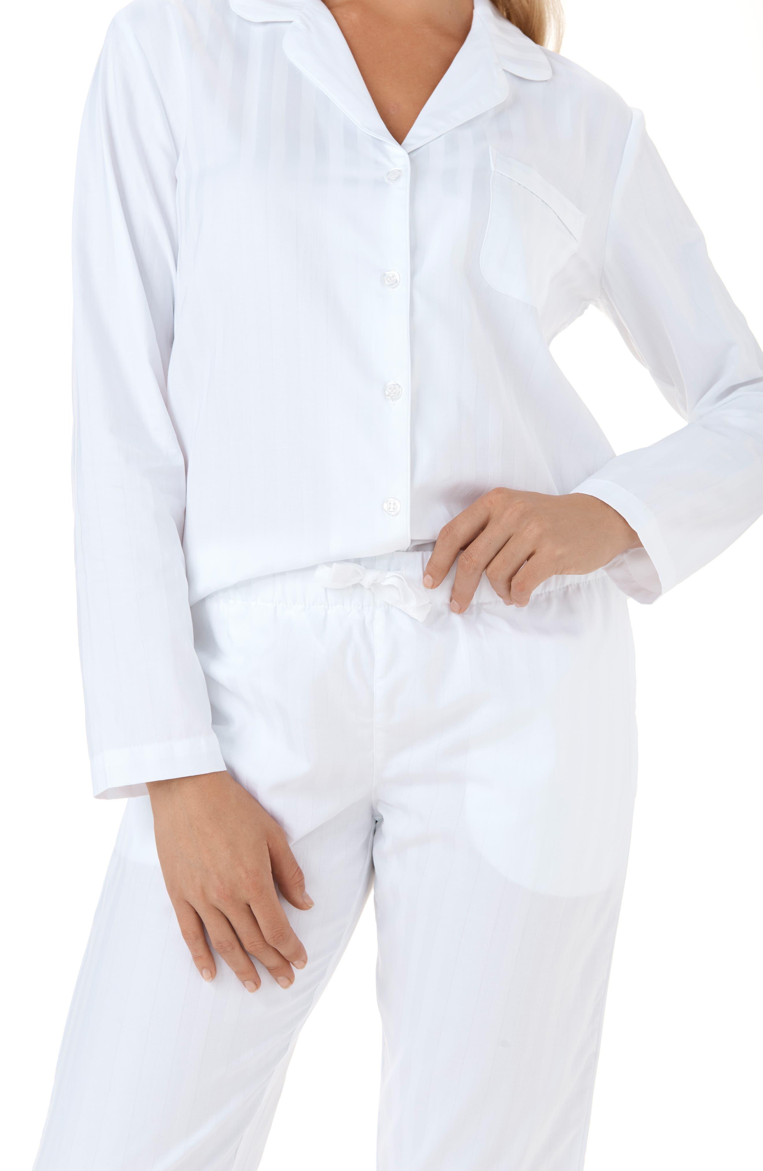 THE WHITE COMPANY,                             Cotton Pajamas,                             Alternate thumbnail 4, color,                             WHITE