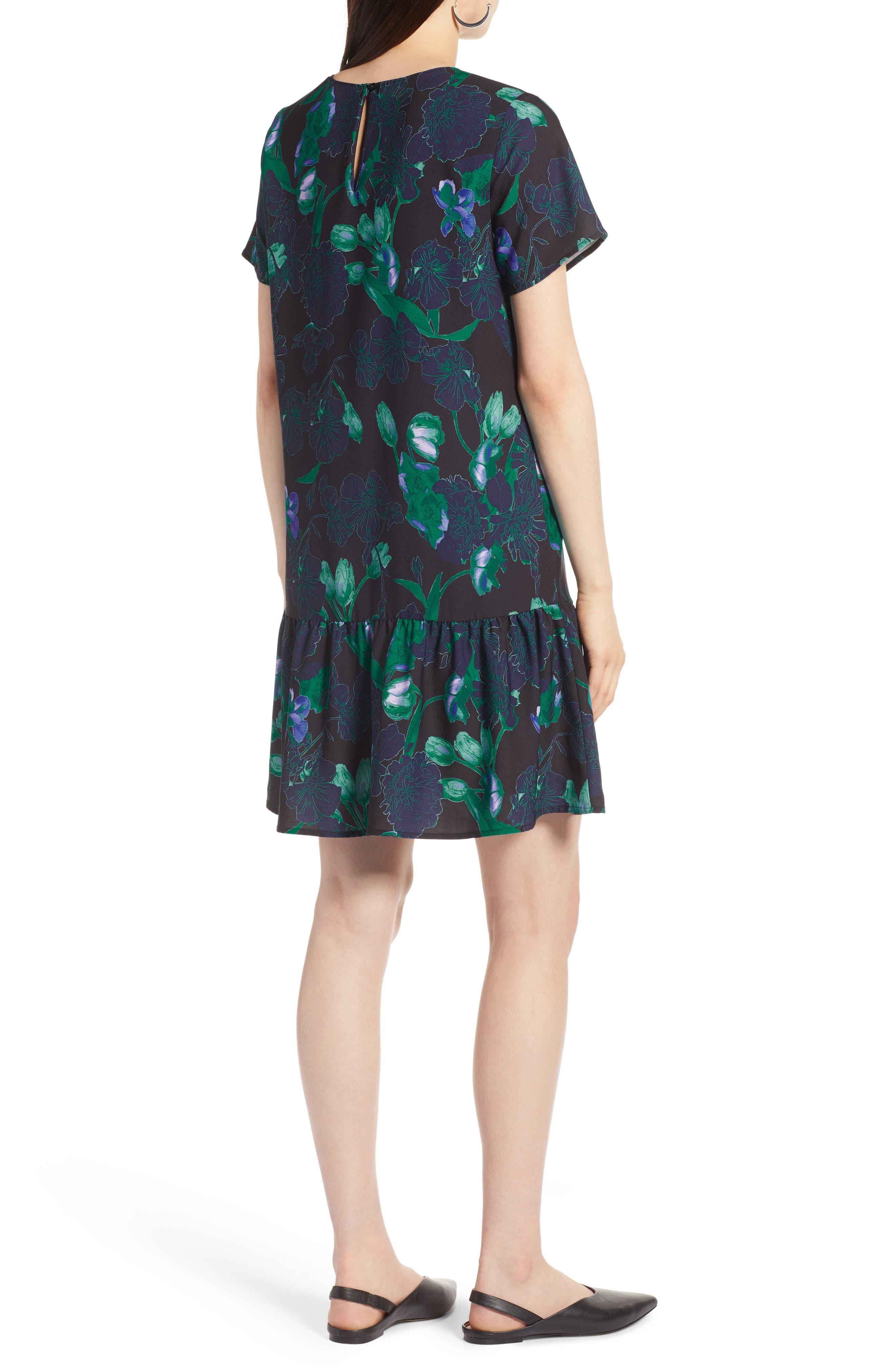 Short Sleeve Ruffle Hem Dress,                             Alternate thumbnail 9, color,