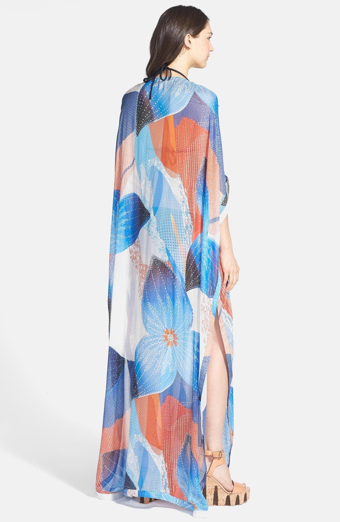 'Clare' Beaded Print Silk Blend Caftan,                             Alternate thumbnail 2, color,