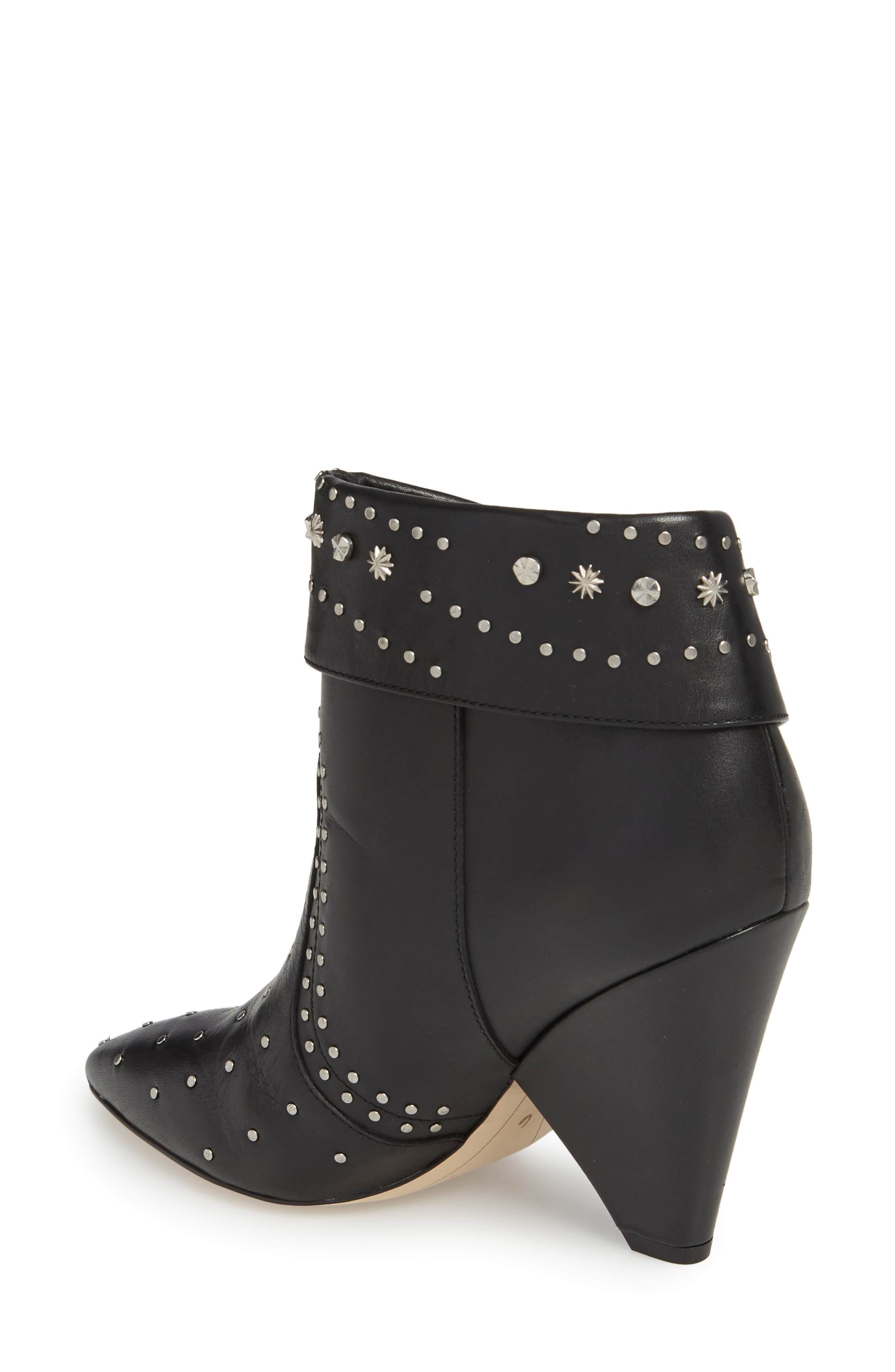 Royce Studded Bootie,                             Alternate thumbnail 2, color,                             BLACK LEATHER