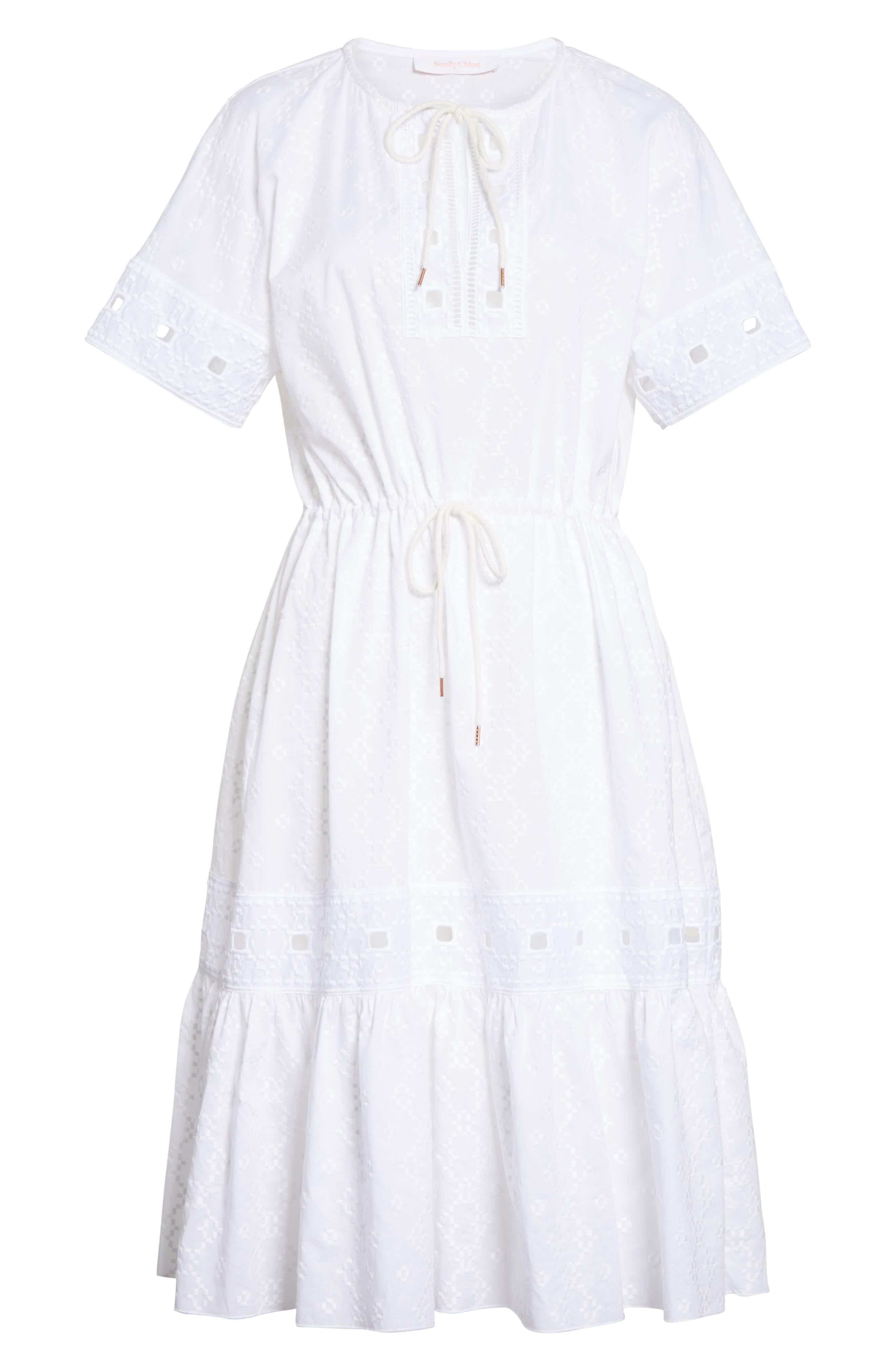 Cotton Eyelet Dress,                             Alternate thumbnail 6, color,                             101