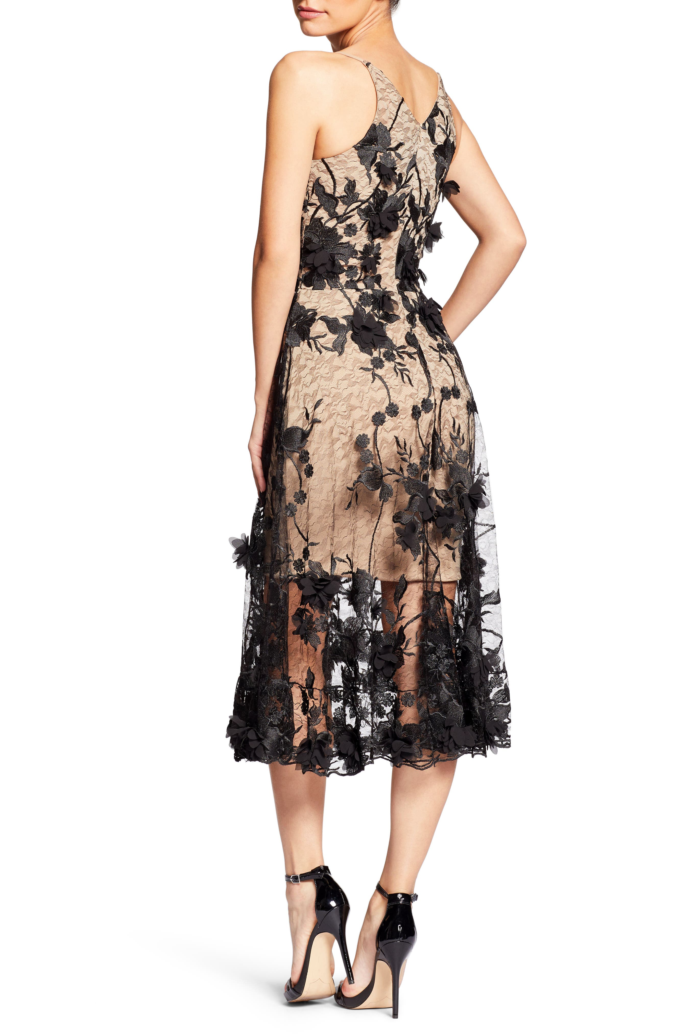 Audrey Embroidered Fit & Flare Dress,                             Alternate thumbnail 2, color,                             BLACK/ NUDE