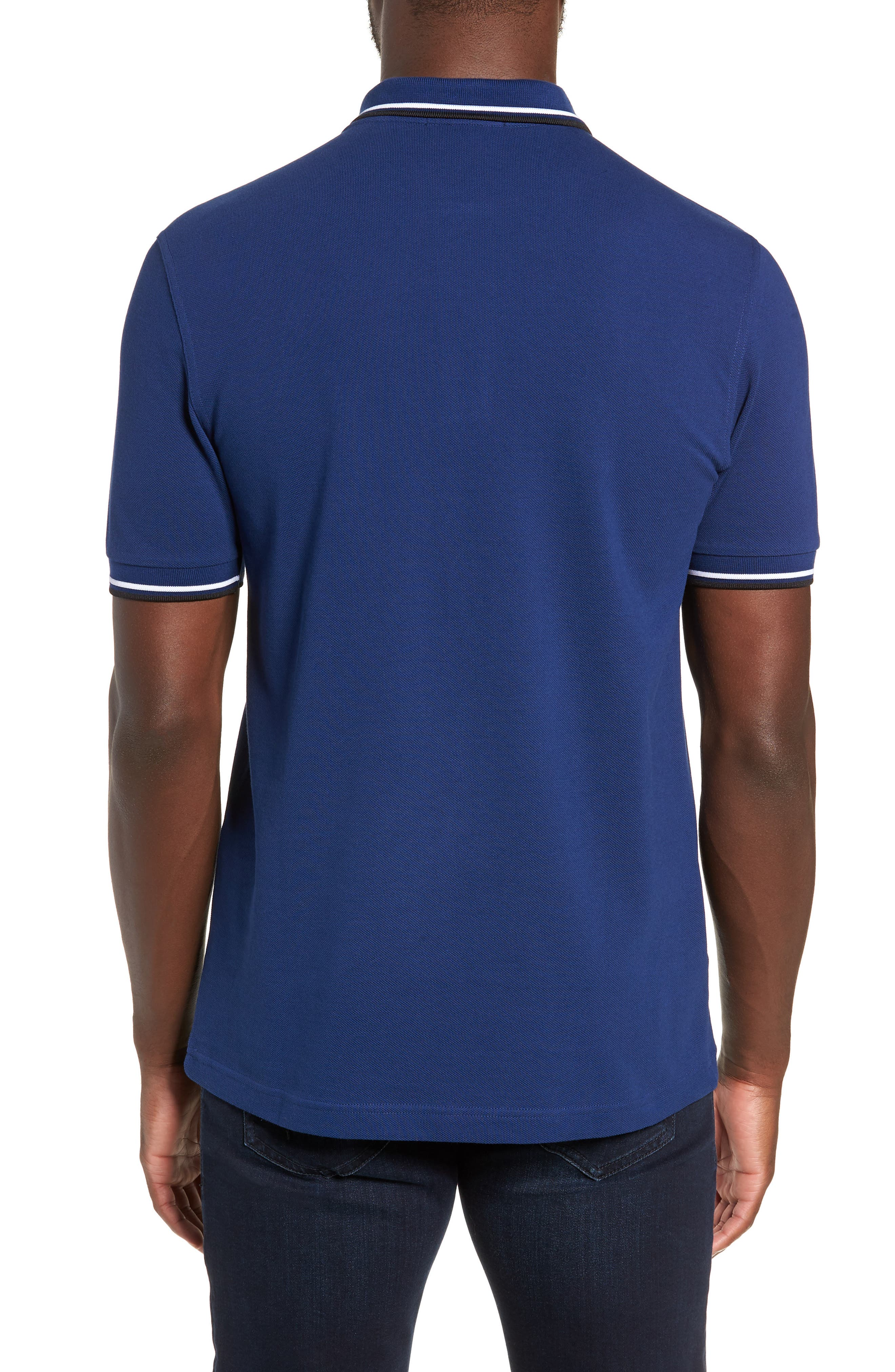 Extra Trim Fit Twin Tipped Piqué Polo,                             Alternate thumbnail 2, color,                             MEDIEVAL BLUE / WHITE / BLACK