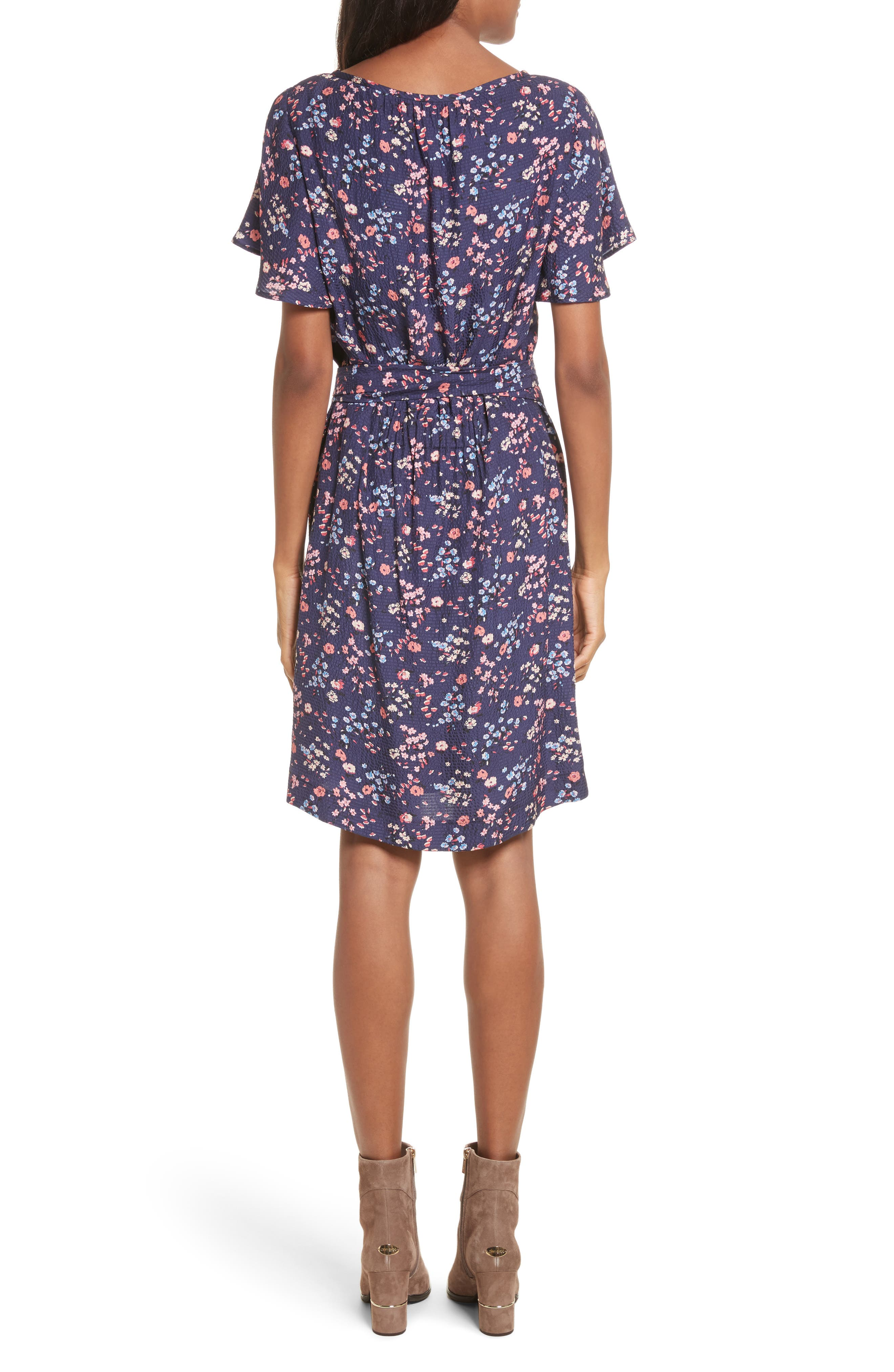 Woodland Floral Print Silk Dress,                             Alternate thumbnail 2, color,