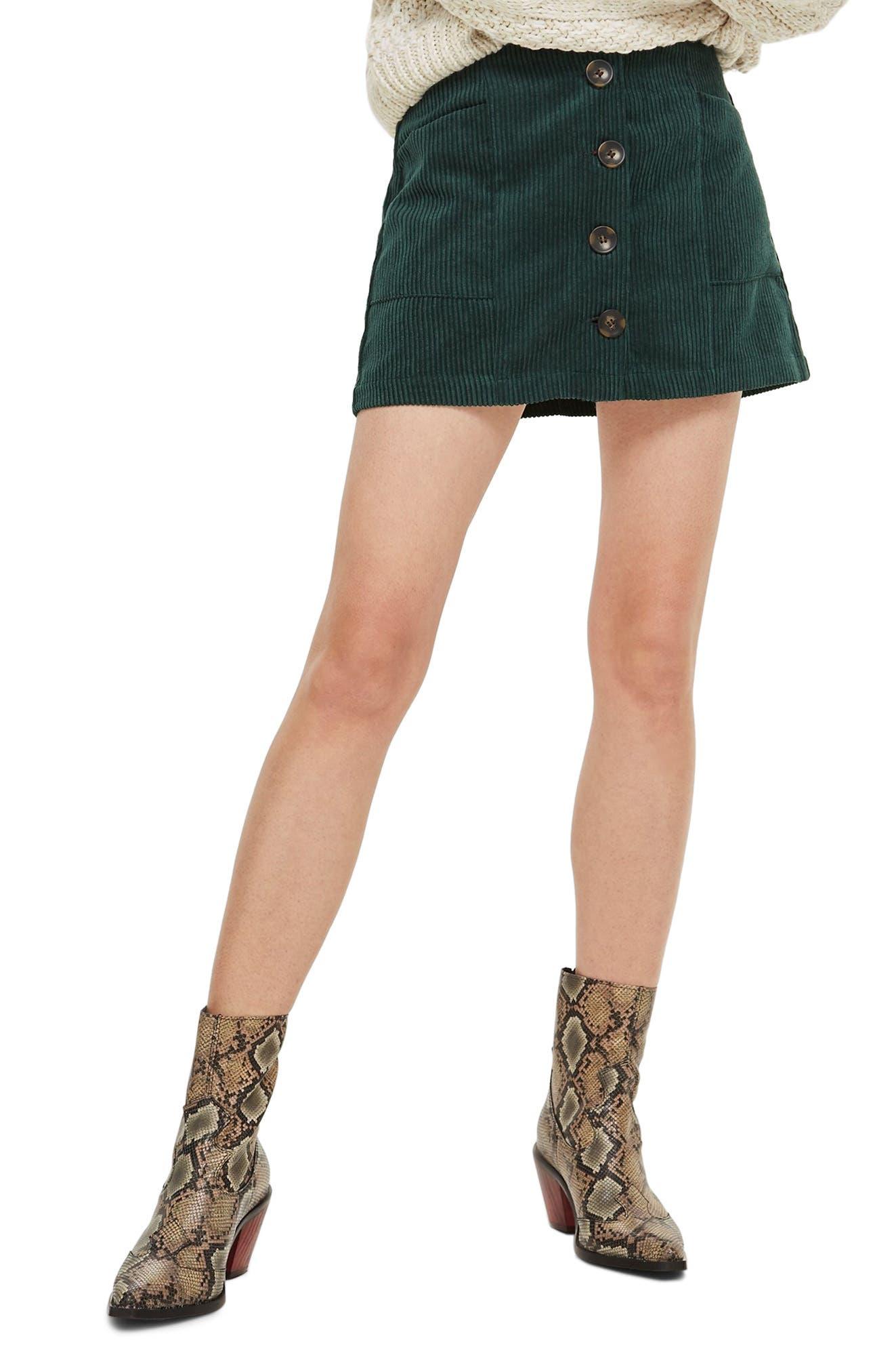 Corduroy Miniskirt,                             Main thumbnail 1, color,                             GREEN