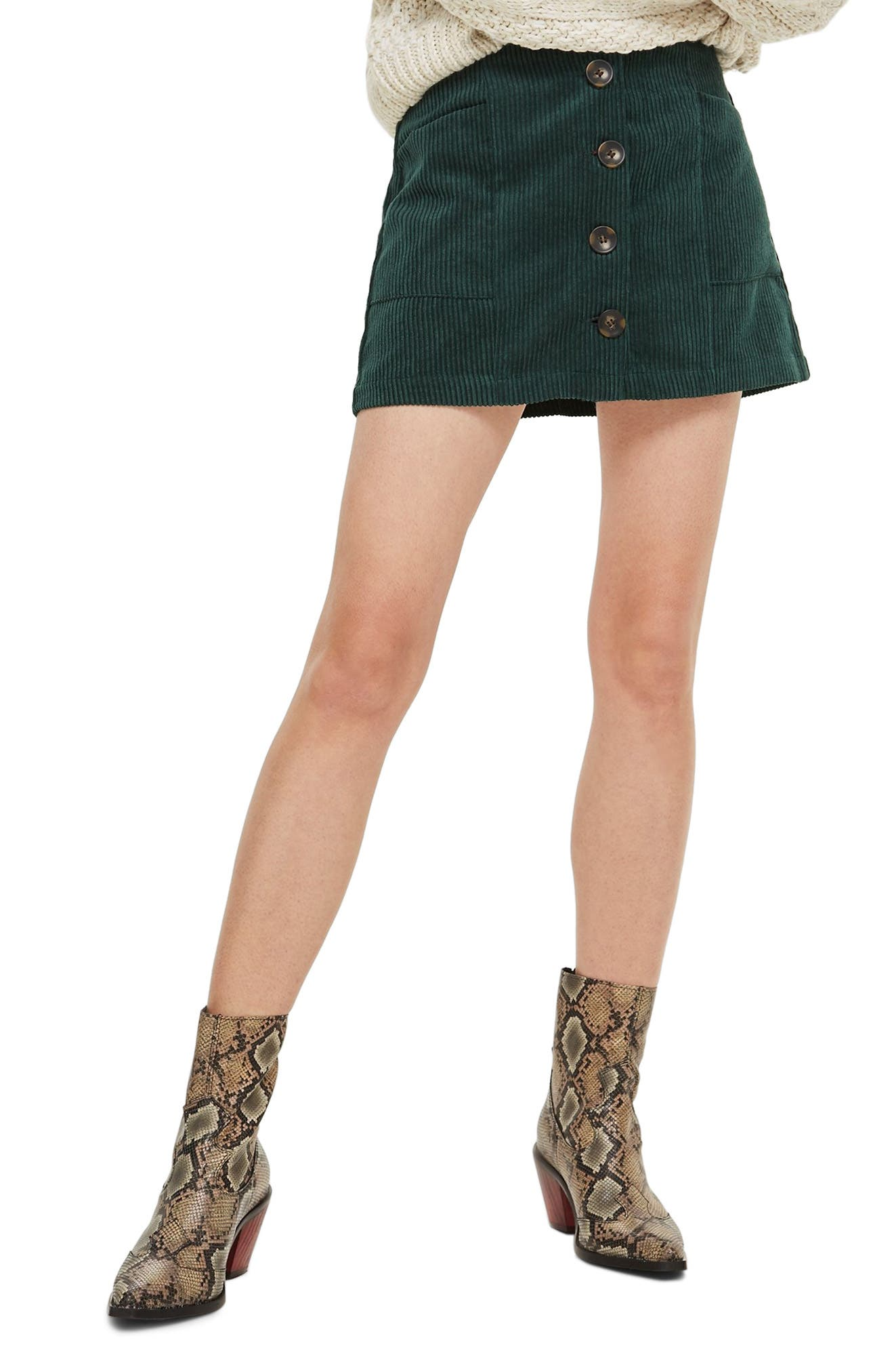 Corduroy Miniskirt,                         Main,                         color, GREEN