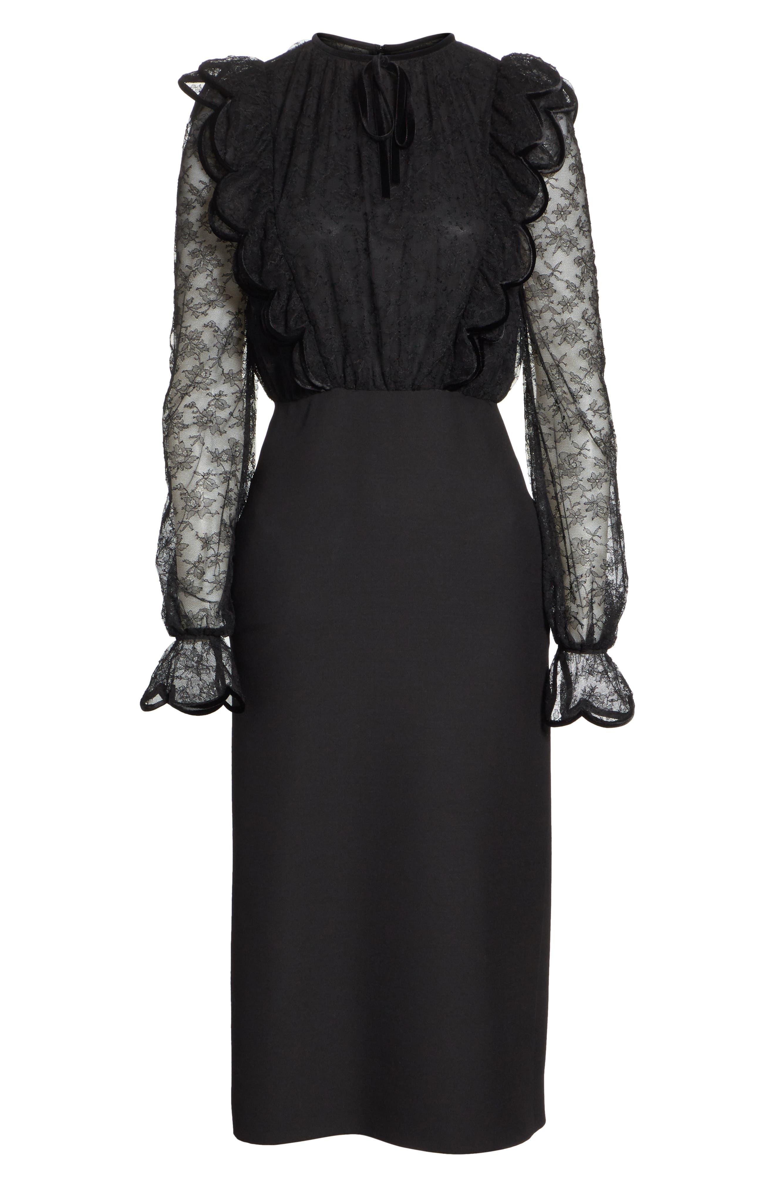 Lace Bodice Sheath Dress,                             Alternate thumbnail 6, color,                             001