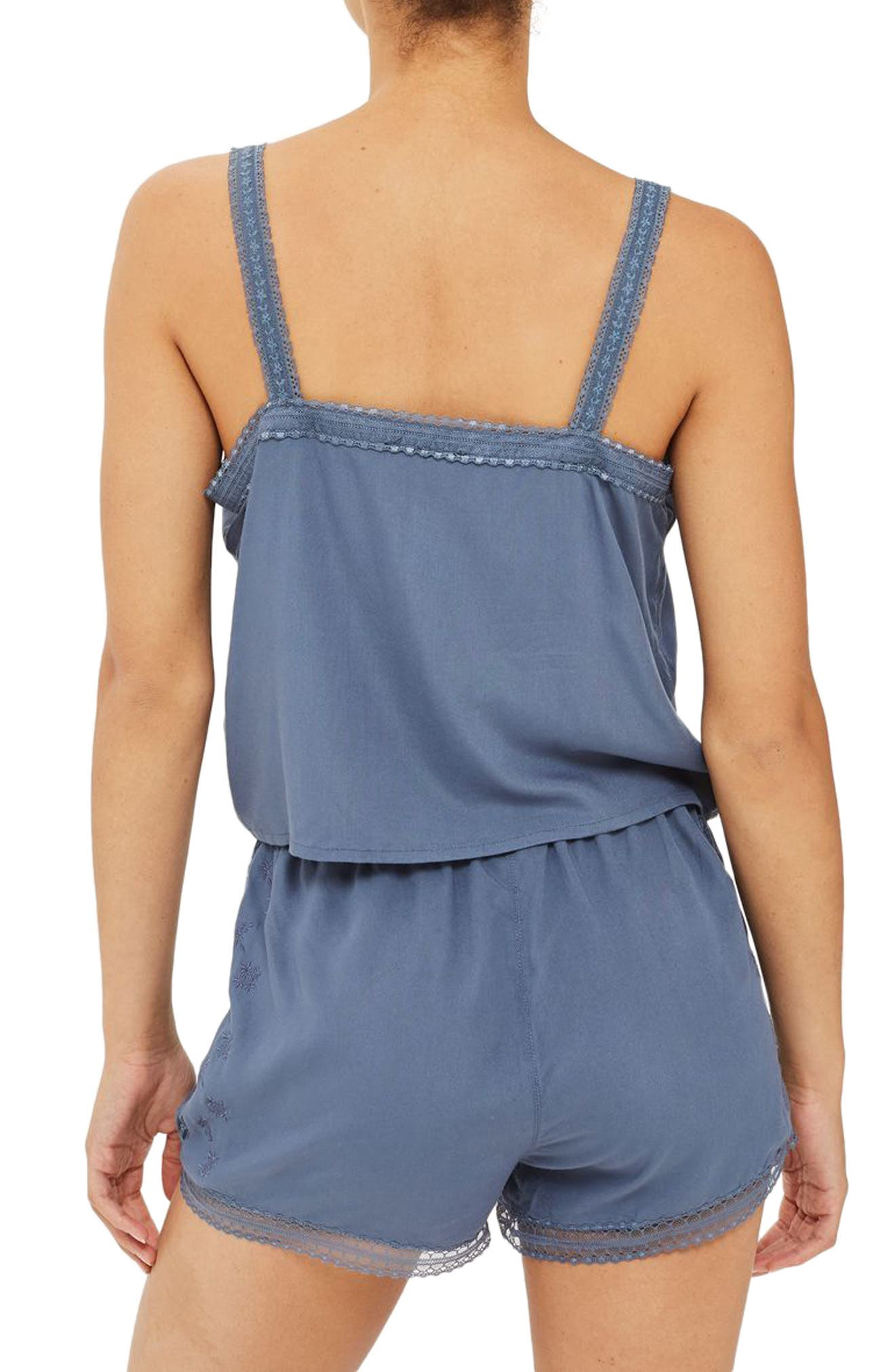 Slate Broderie Camisole & Sleep Shorts,                             Alternate thumbnail 2, color,                             020