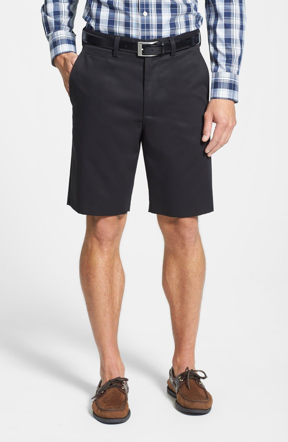 Smartcare<sup>™</sup> Flat Front Shorts,                         Main,                         color, BLACK