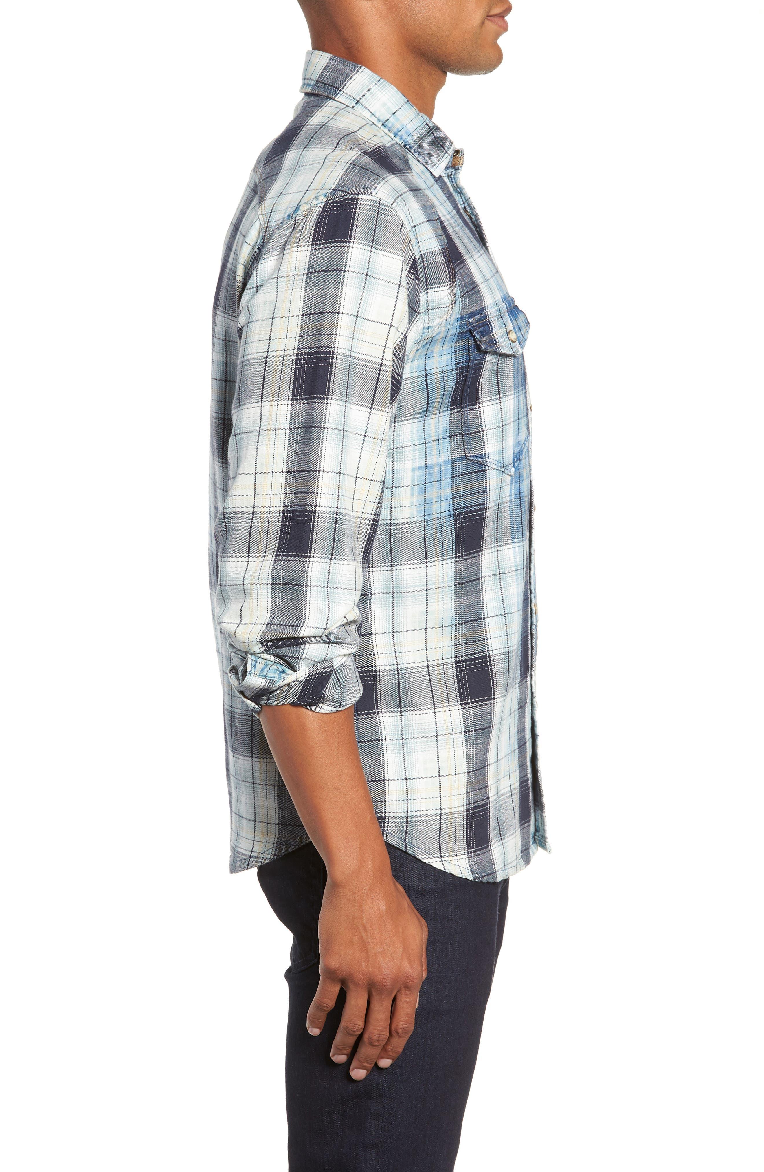 Sawtooth Regular Fit Crosshatch Plaid Shirt,                             Alternate thumbnail 4, color,                             ENSIGN BLUE