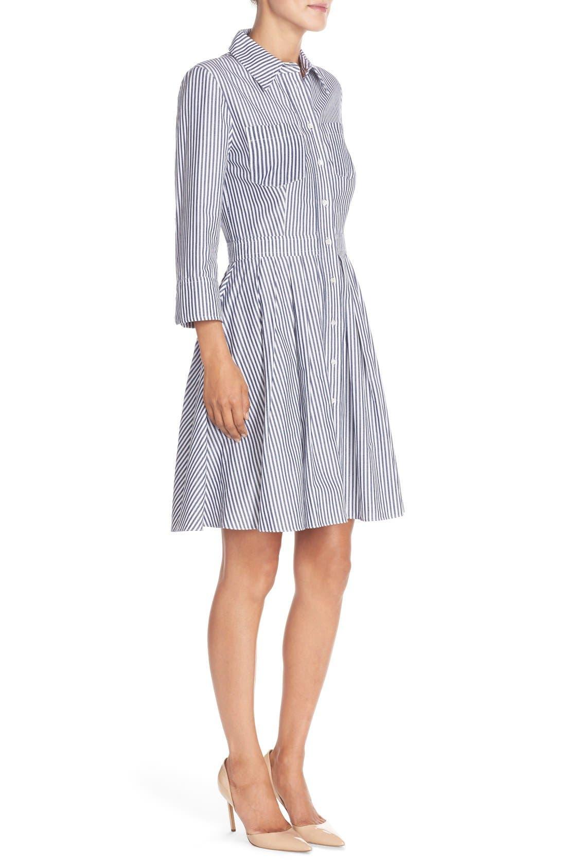Stripe Cotton Shirtdress,                             Alternate thumbnail 5, color,                             421