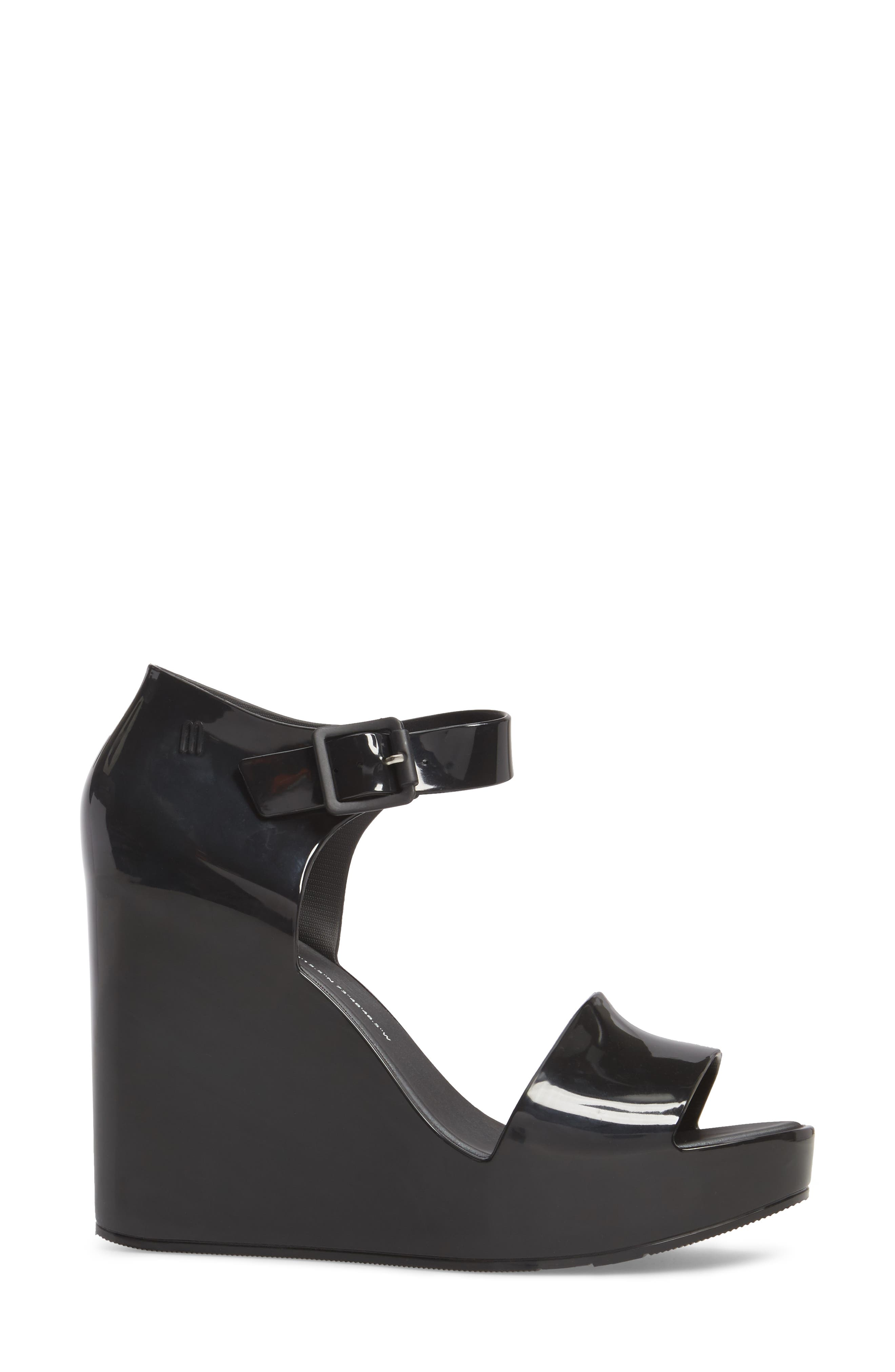 Mar Platform Wedge Sandal,                             Alternate thumbnail 3, color,                             BLACK