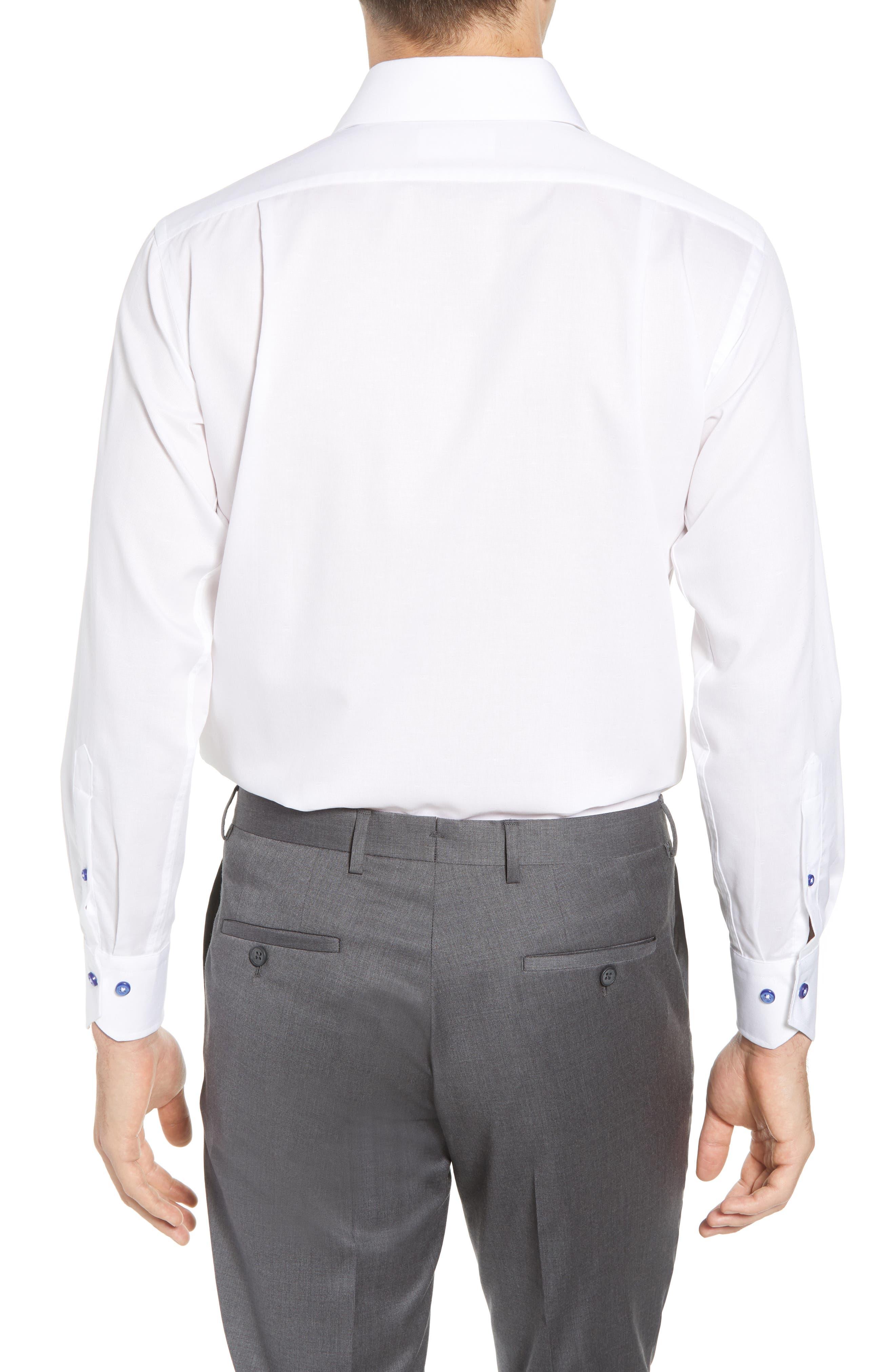 Trim Fit Solid Dress Shirt,                             Alternate thumbnail 3, color,                             WHITE
