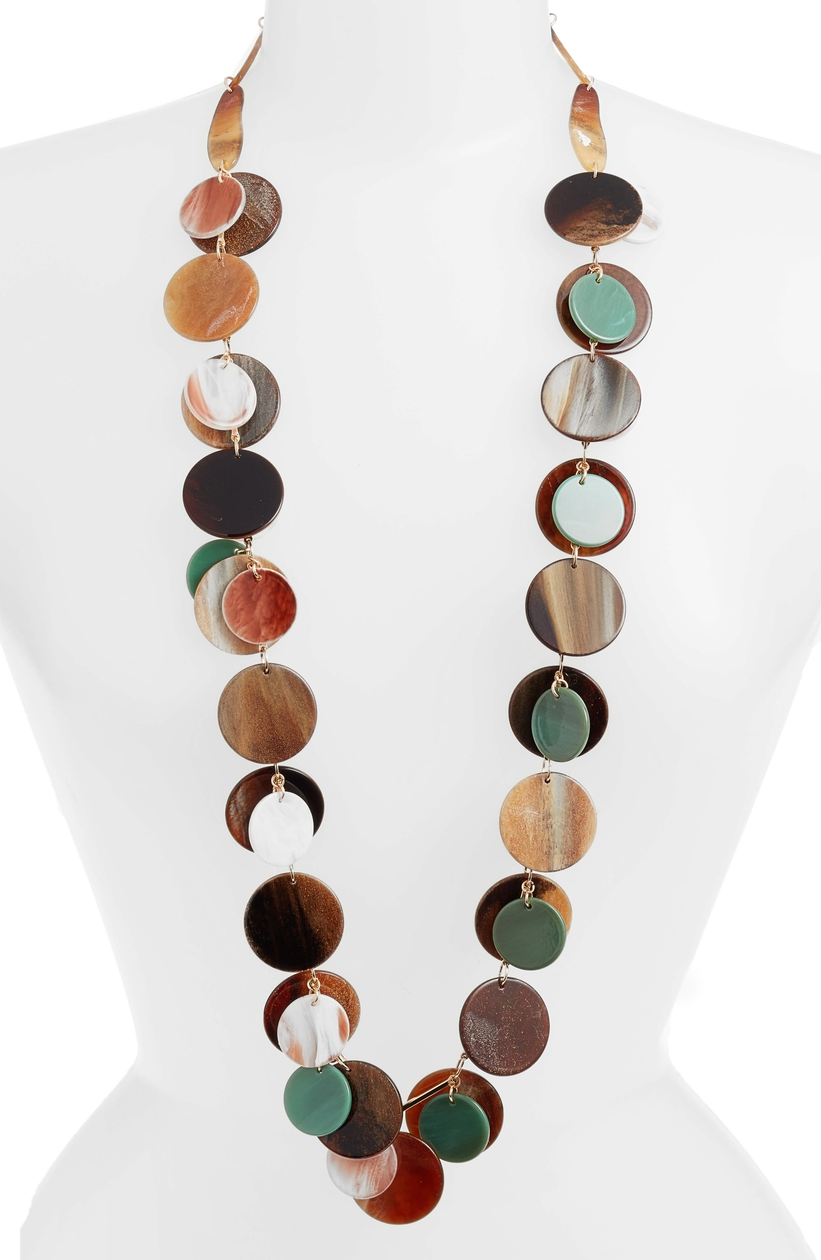 Layered Disc Necklace,                         Main,                         color,