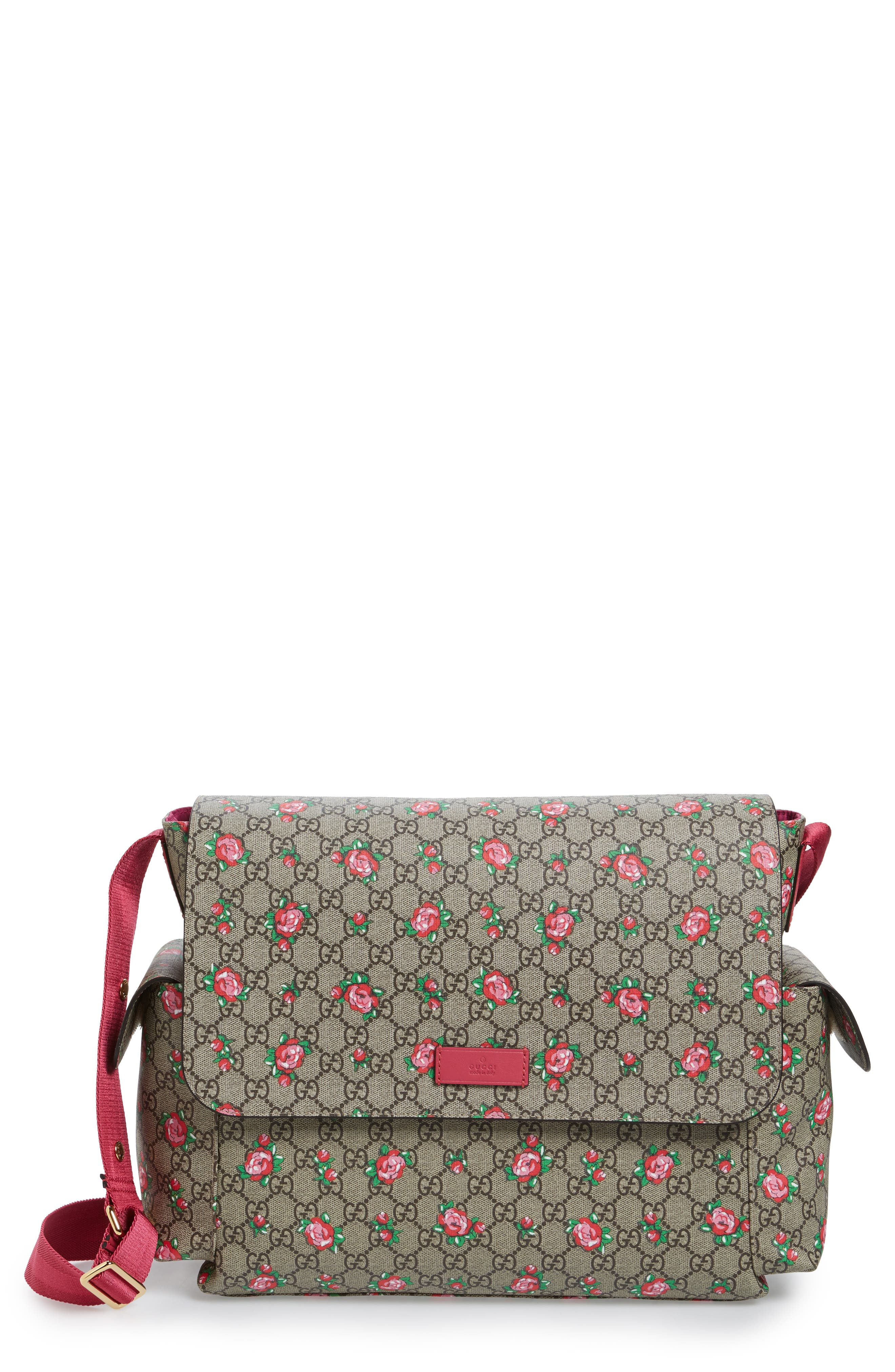 Rose GG Supreme Coated Canvas Diaper Bag,                             Main thumbnail 1, color,                             200