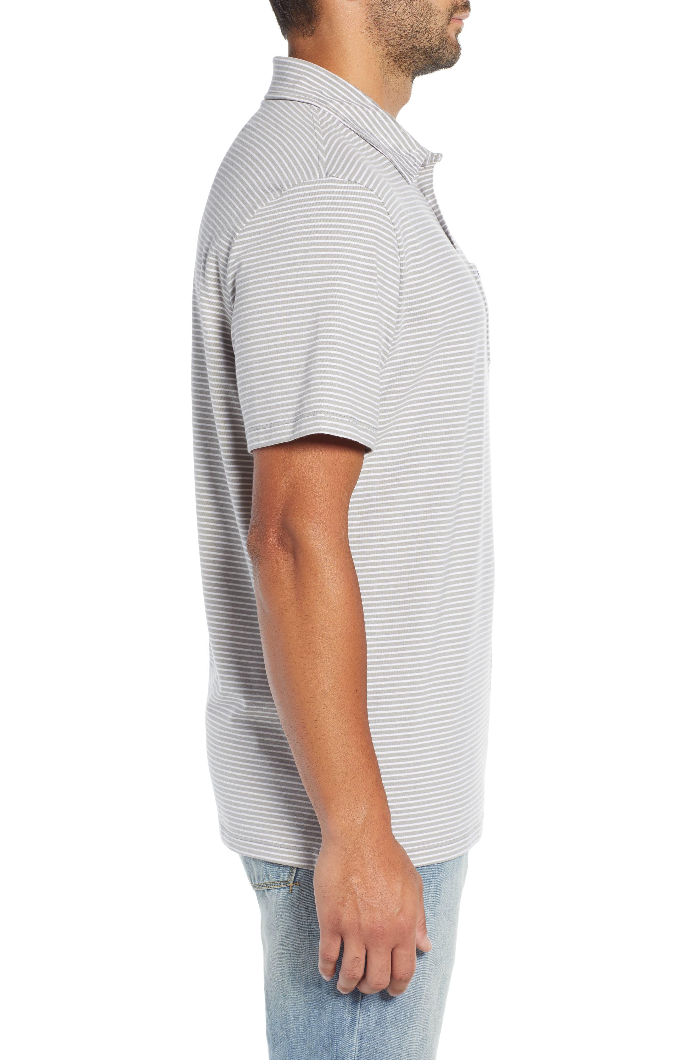 Shep Stripe Edgartown Polo Shirt,                             Alternate thumbnail 3, color,                             MONUMENT GREY