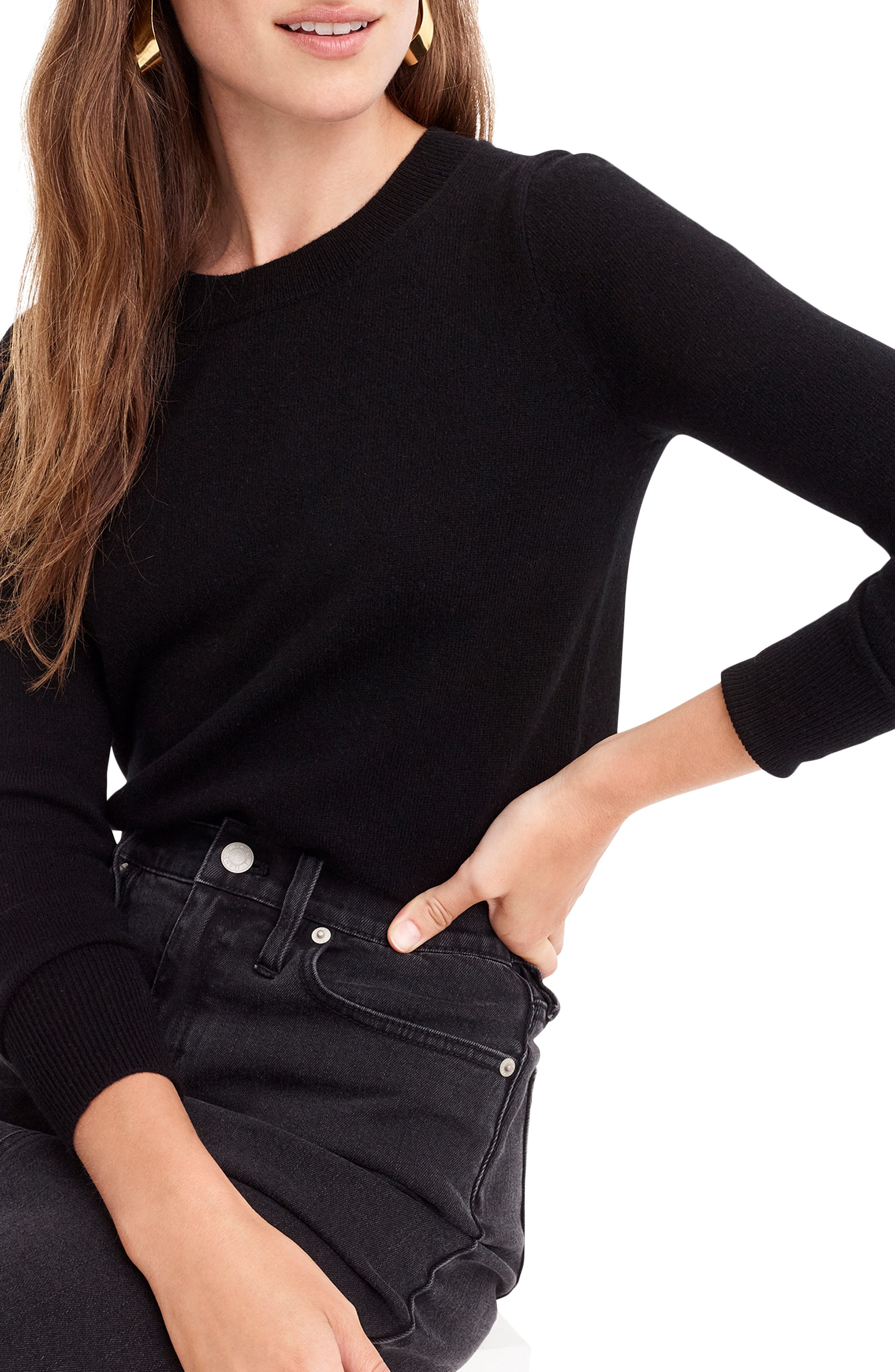 J.CREW,                             Crewneck Cashmere Sweater,                             Alternate thumbnail 3, color,                             BLACK