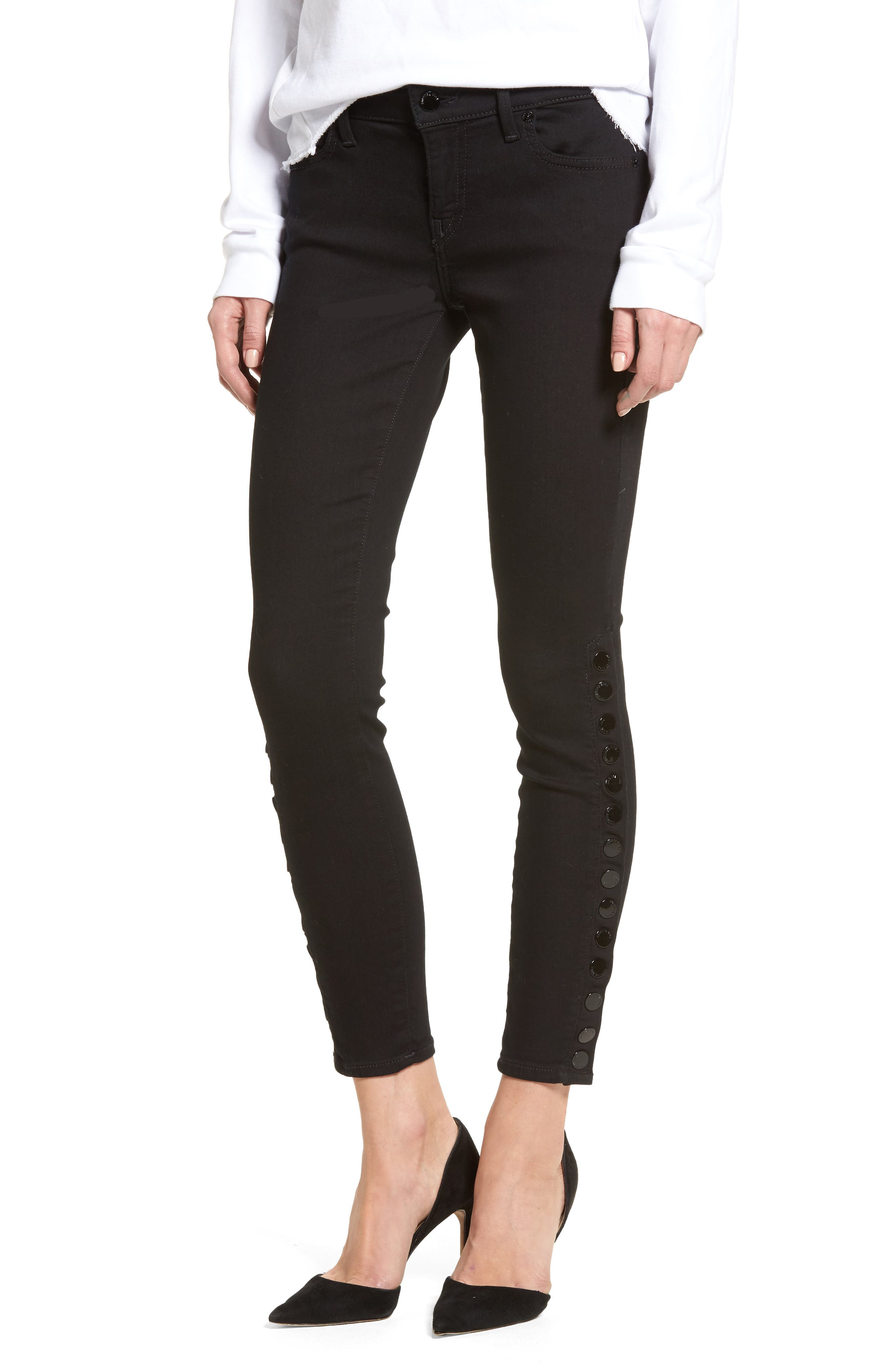 Halle Snap Ankle Super Skinny Jeans,                             Main thumbnail 1, color,                             001