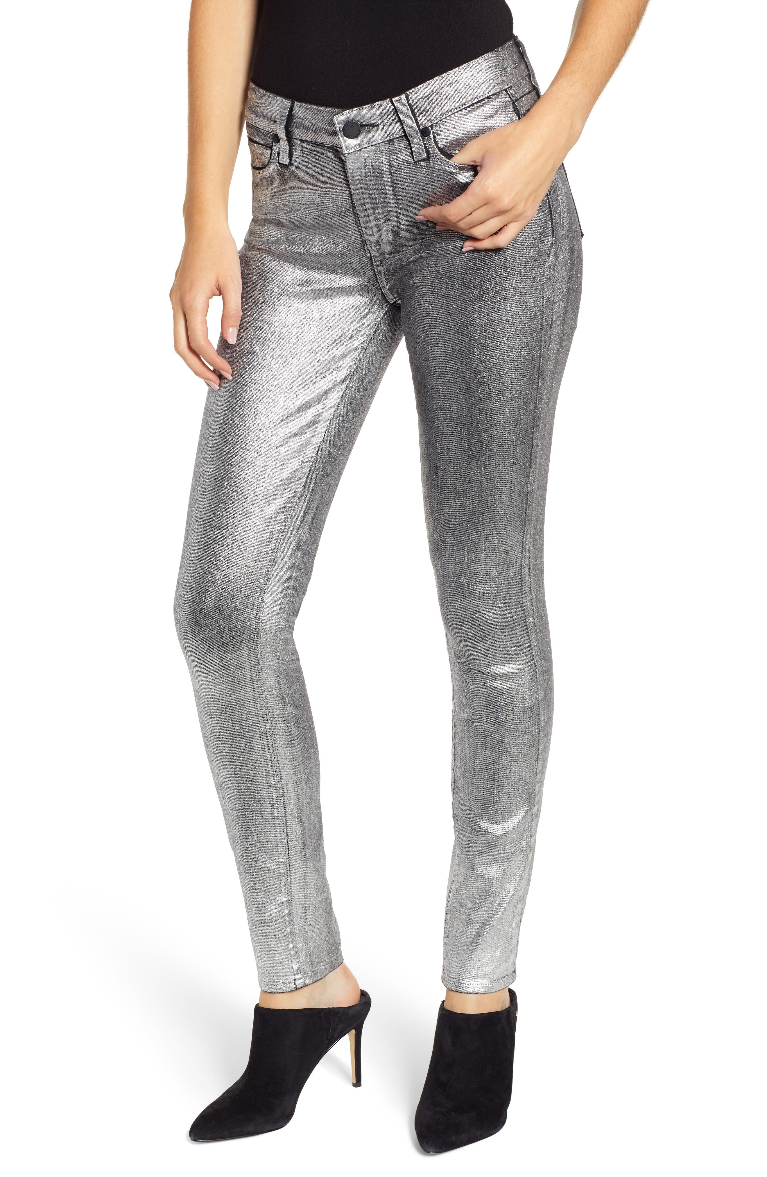 Verdugo Skinny Jeans,                         Main,                         color, SILVER GALAXY COATING