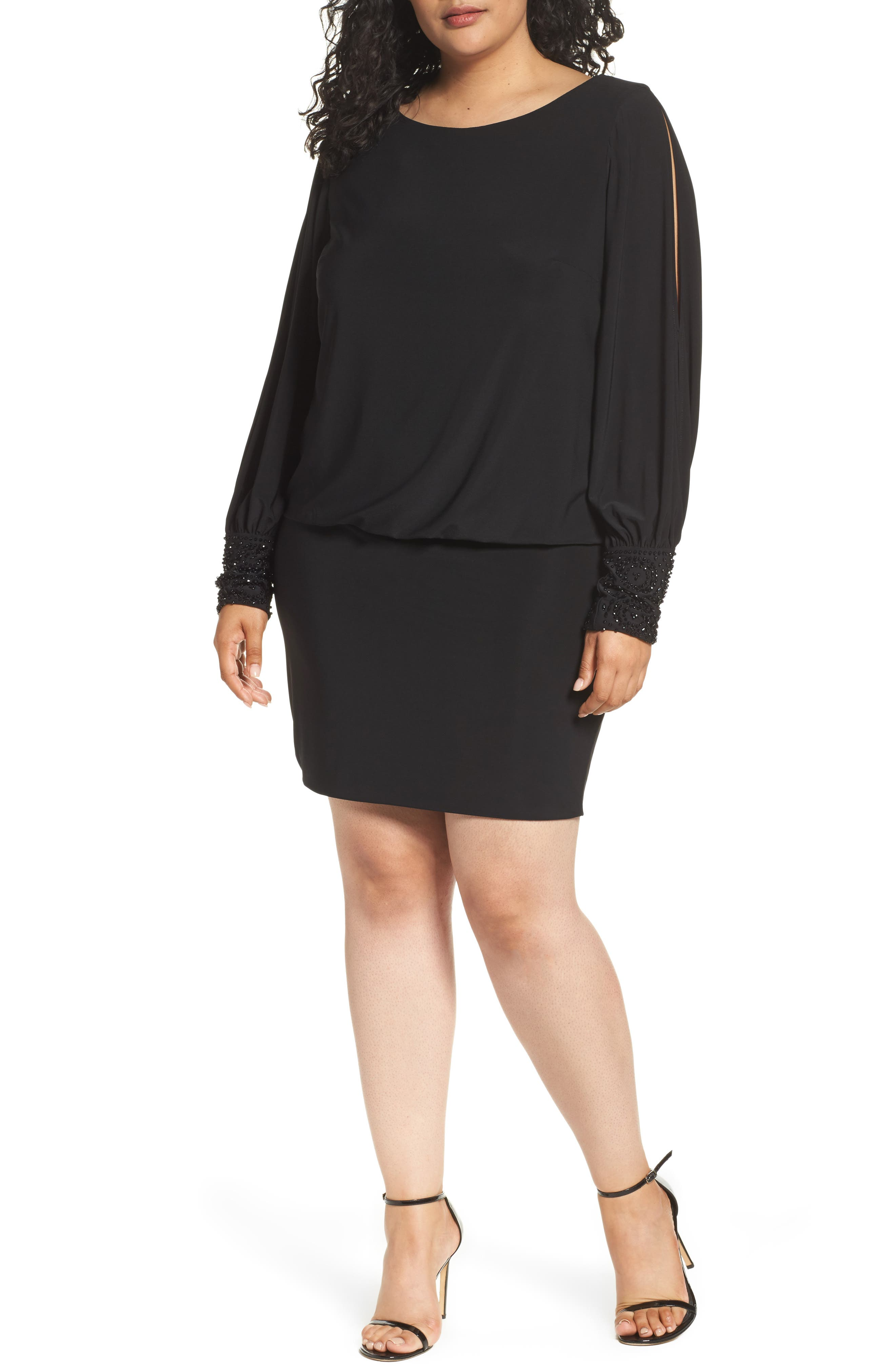 Embellished Cuff Blouson Jersey Dress,                             Alternate thumbnail 2, color,                             BLACK