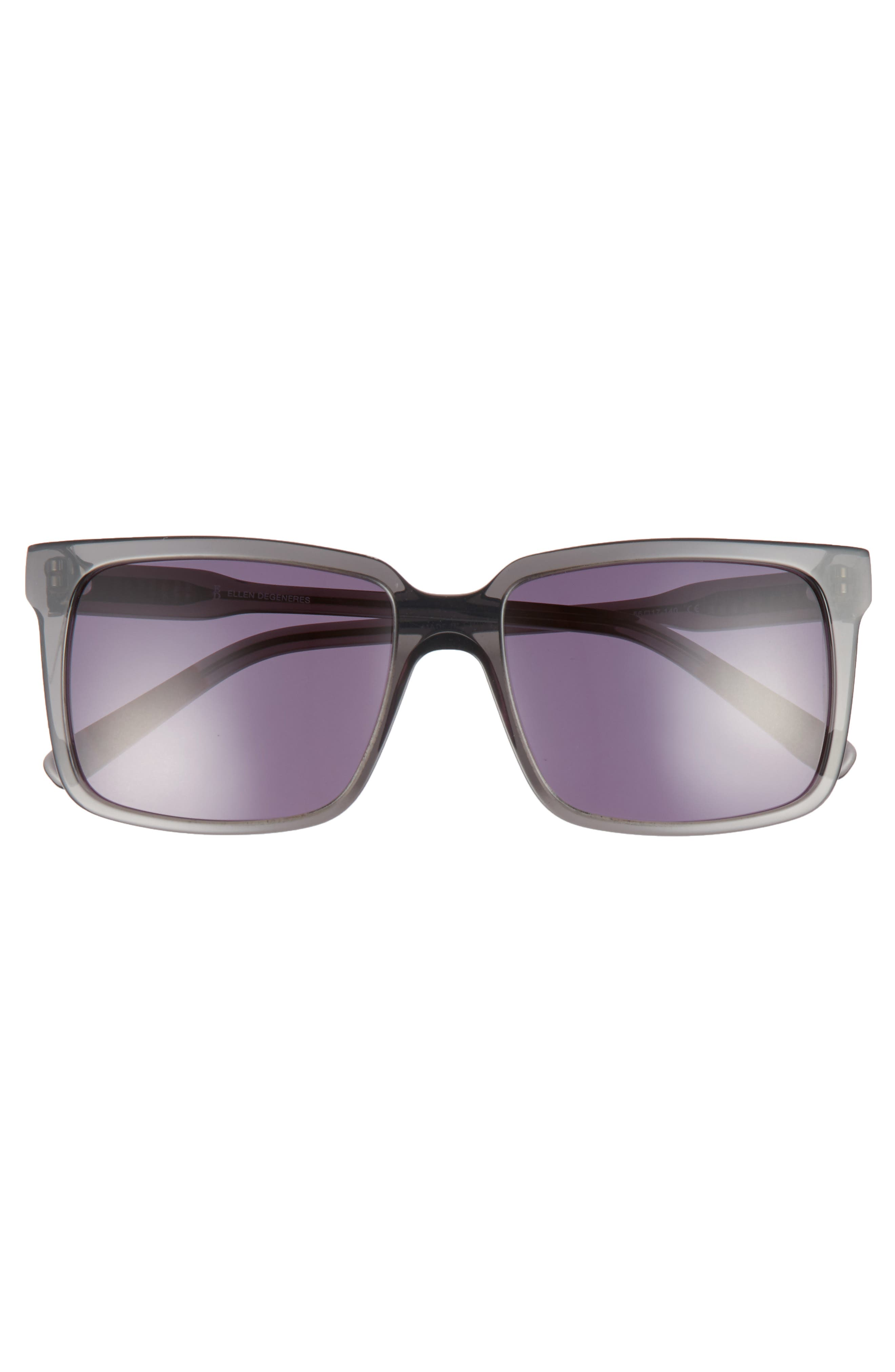 56mm Gradient Square Sunglasses,                             Alternate thumbnail 3, color,                             DARK GREY