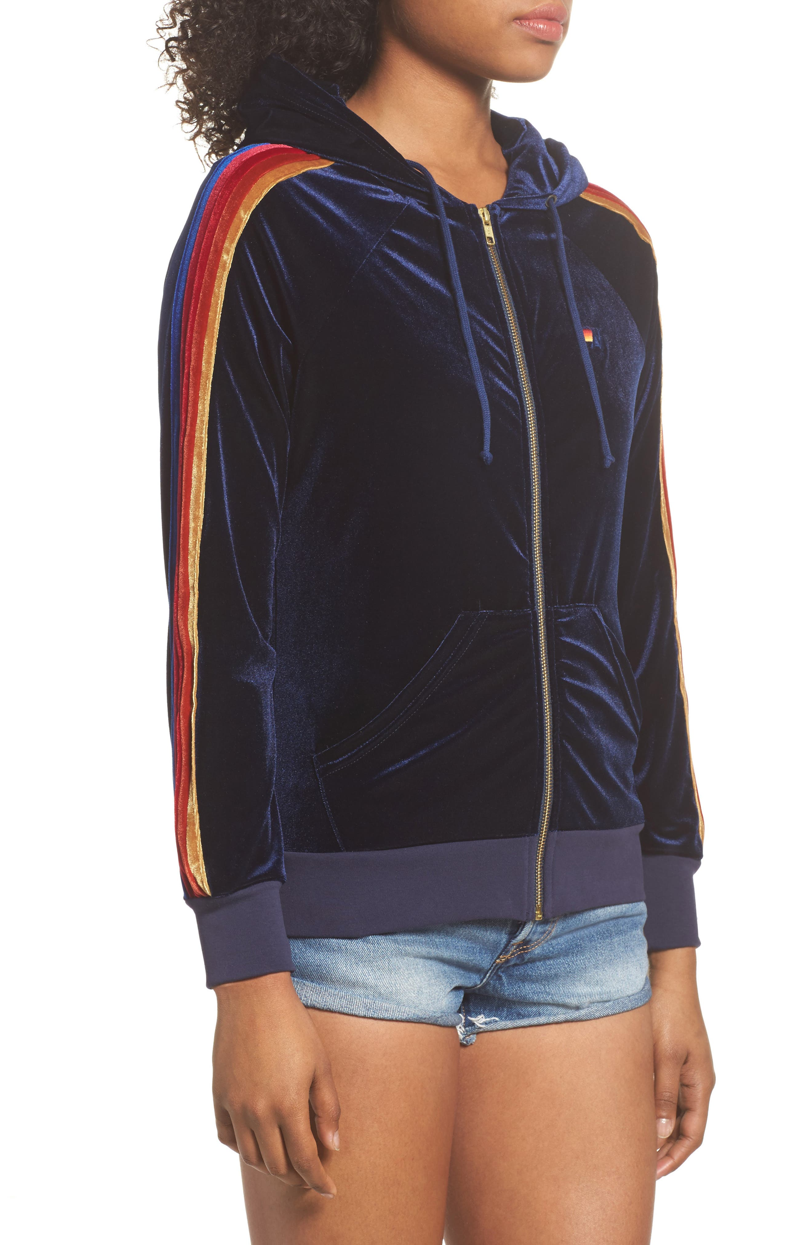 Classic Velvet Hoodie,                             Alternate thumbnail 3, color,                             NAVY