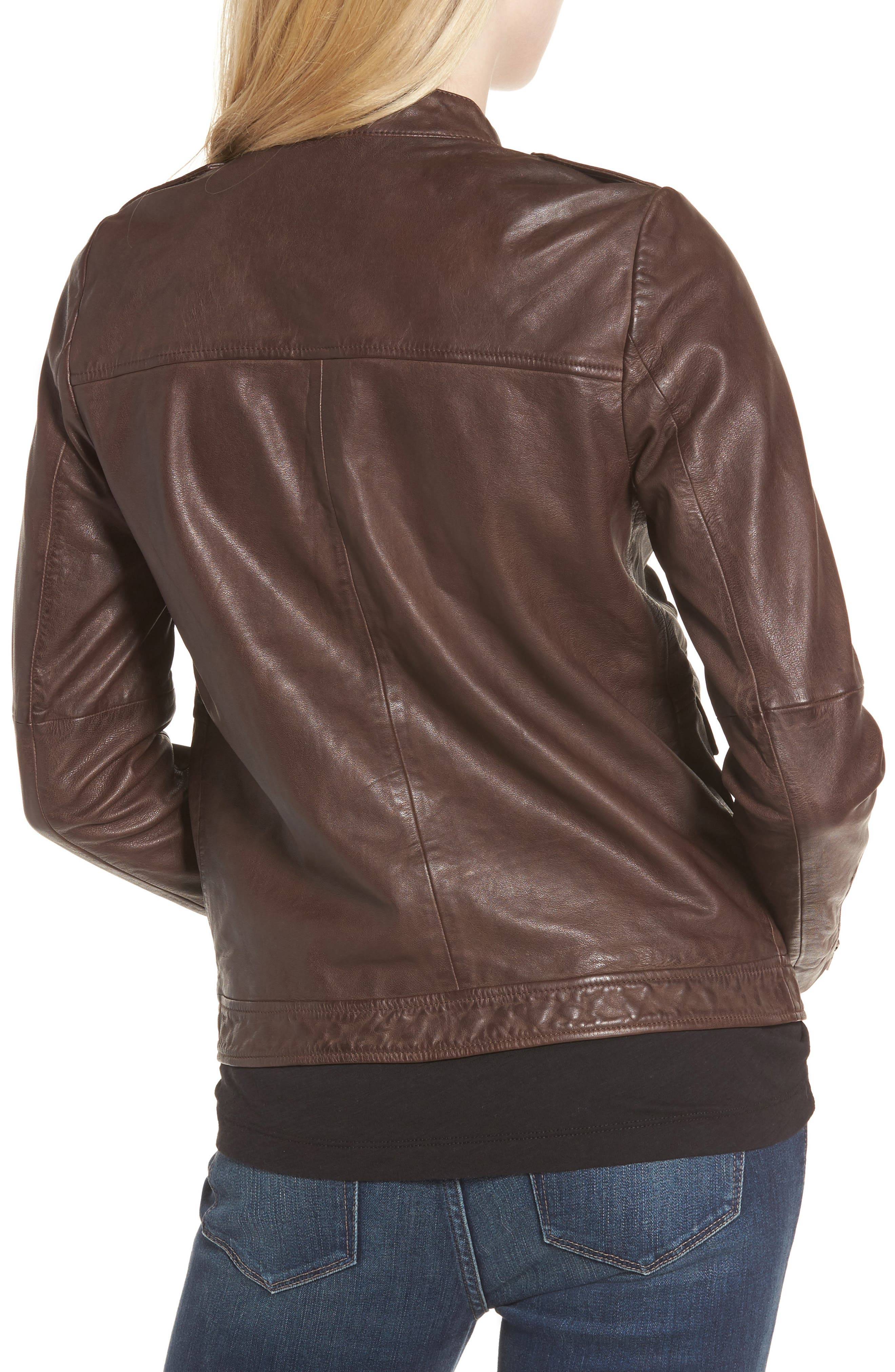 Pocket Detail Leather Jacket,                             Alternate thumbnail 2, color,