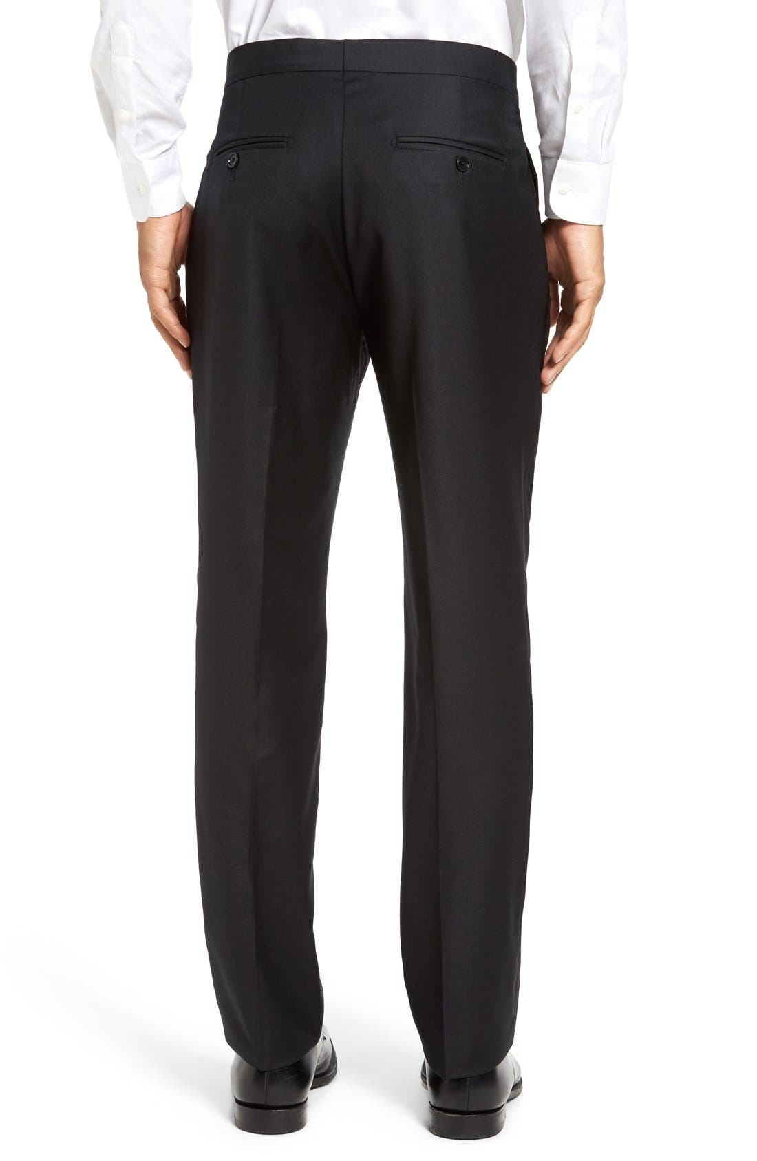 Dagger Flat Front Formal Wool Trousers,                             Alternate thumbnail 2, color,                             001