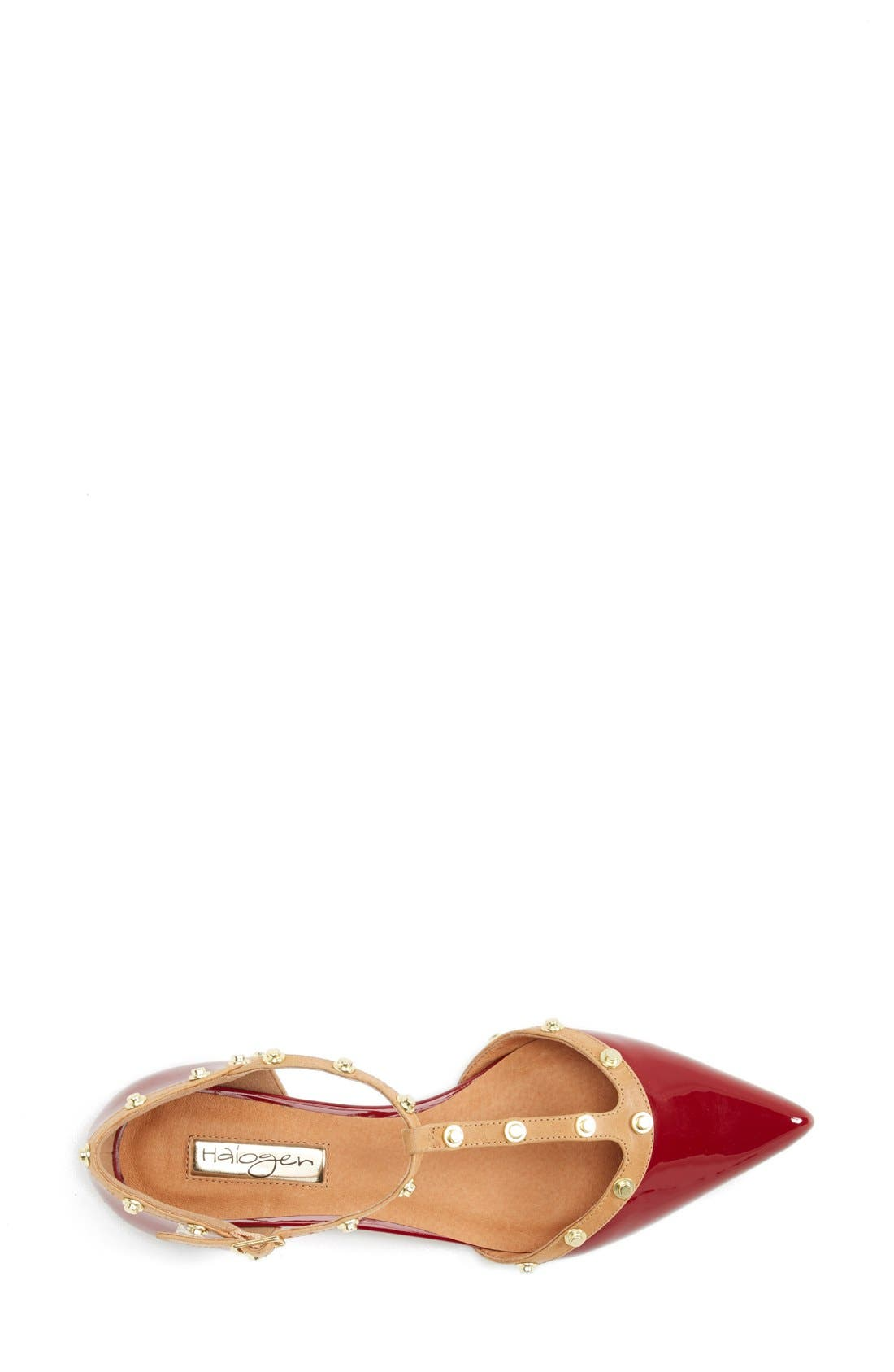 'Olson' Pointy Toe Studded T-Strap Flat,                             Alternate thumbnail 47, color,