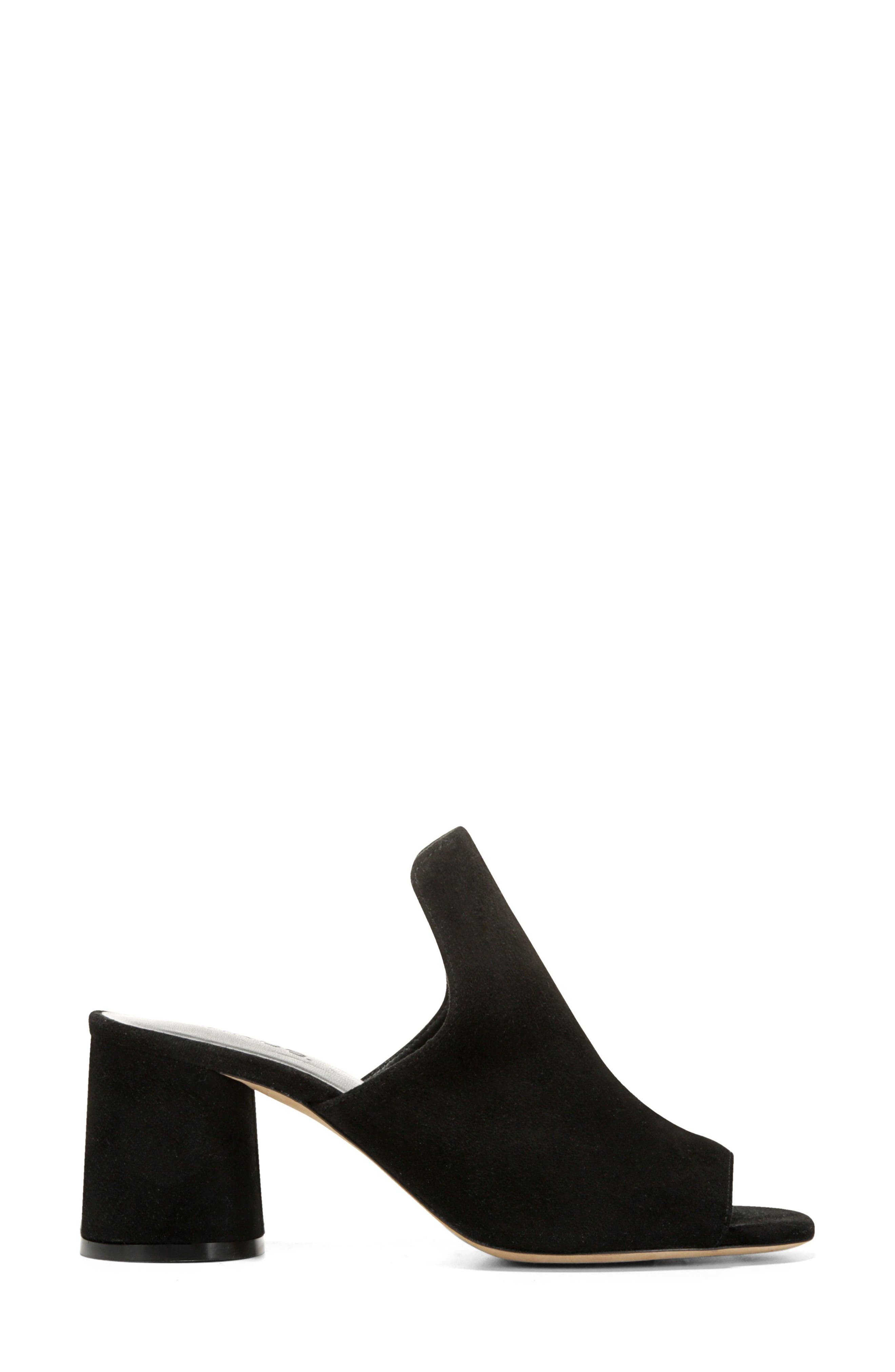 Tanay Loafer Mule,                             Alternate thumbnail 3, color,                             BLACK SUEDE LEATHER