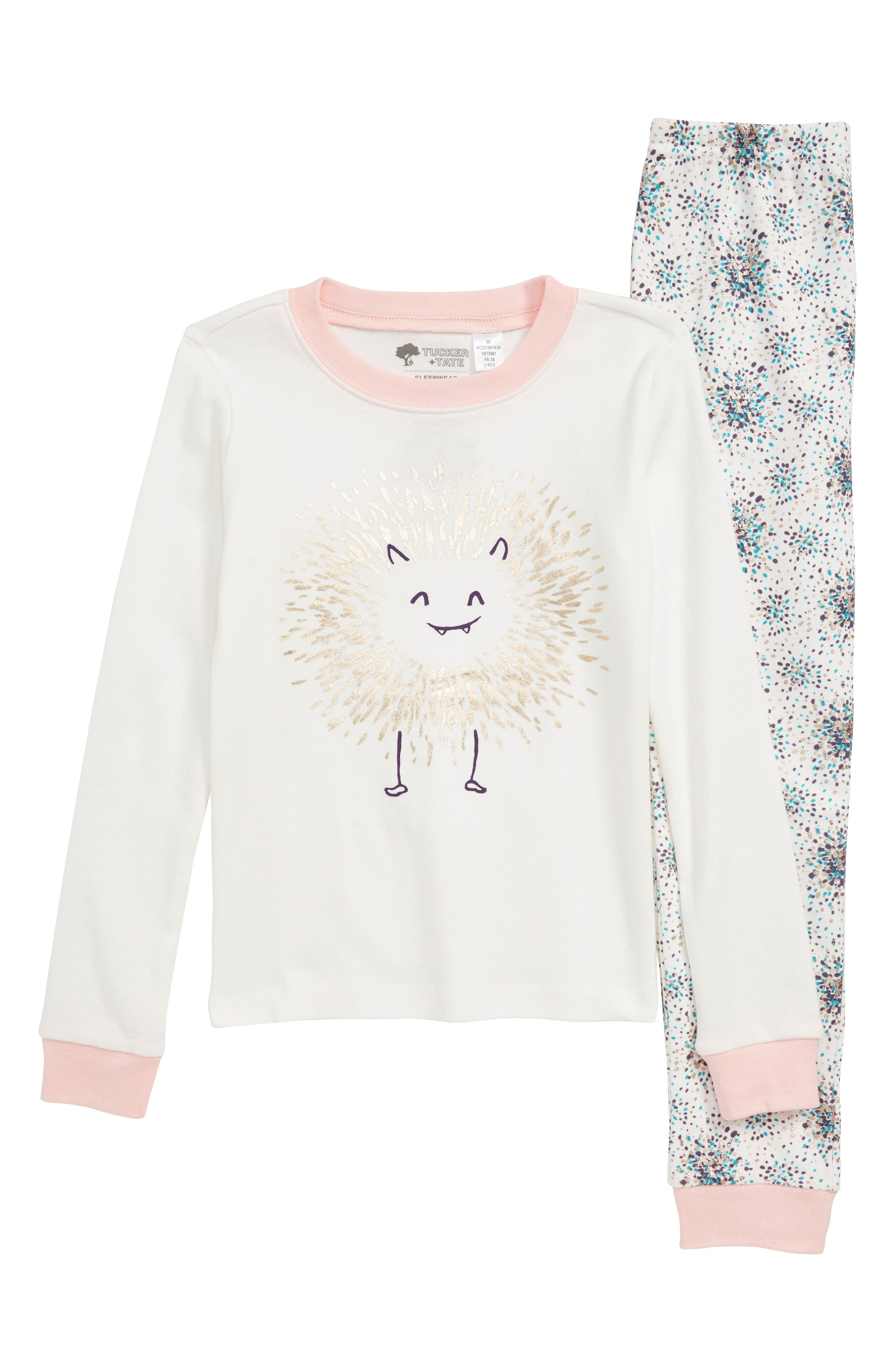 Fitted Two-Piece Pajamas,                             Main thumbnail 1, color,                             IVORY EGRET MONSTER