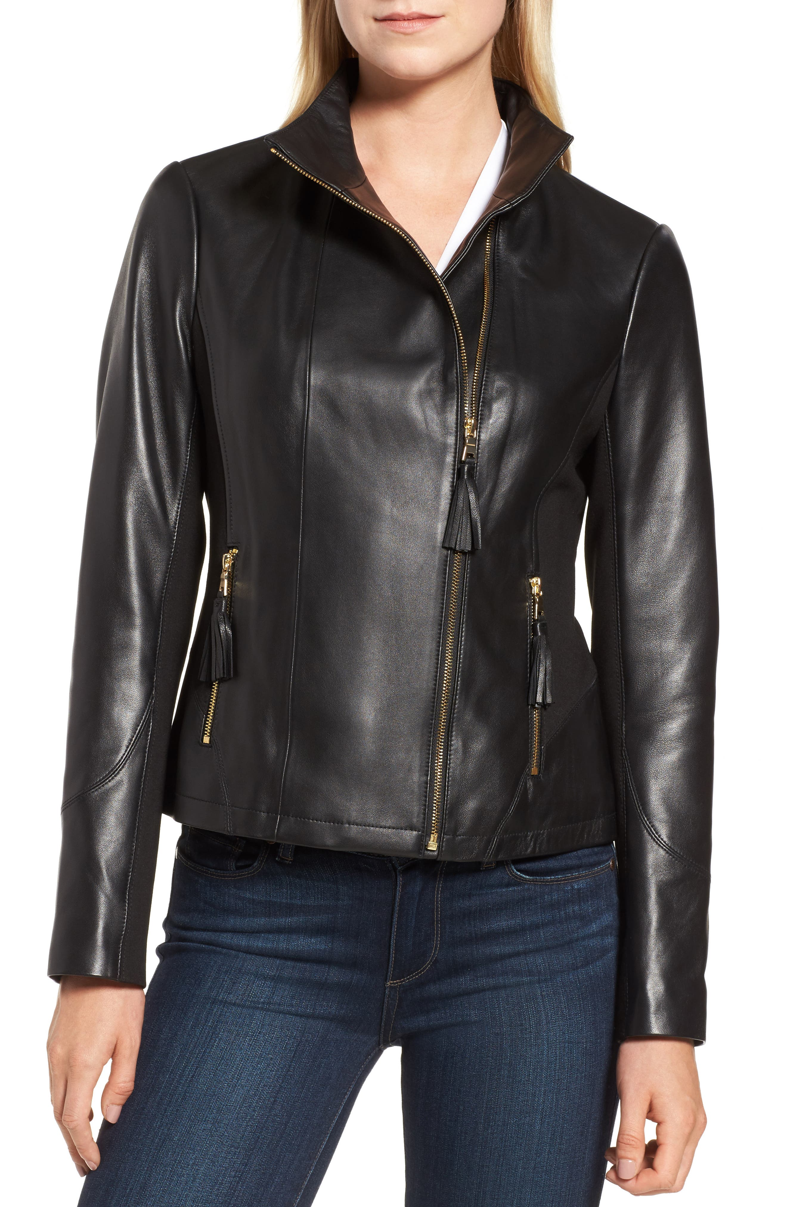 Ponte & Leather Jacket,                             Alternate thumbnail 4, color,                             001