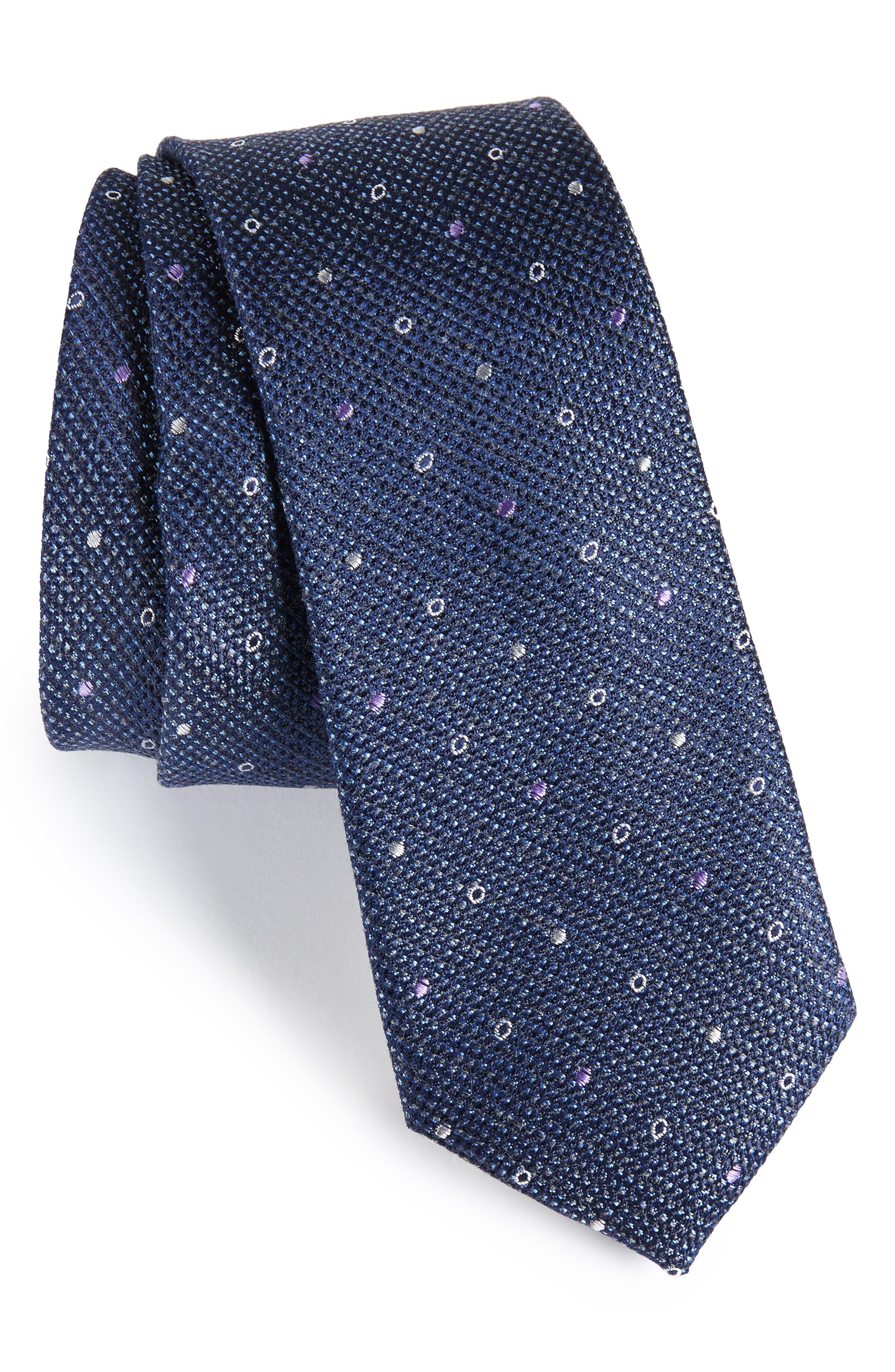 Brubeck Neat Silk Blend Tie,                             Main thumbnail 4, color,