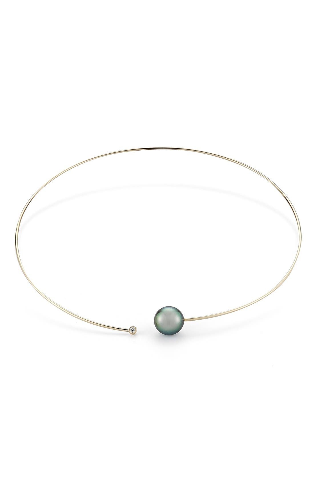 Diamond & Pearl Choker Necklace,                             Main thumbnail 1, color,                             YELLOW GOLD