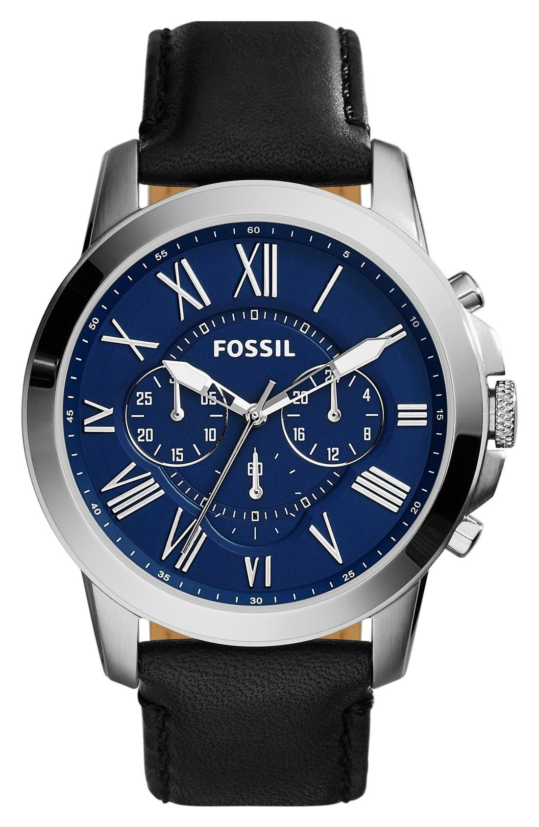 'Grant' Round Chronograph Leather Strap Watch, 44mm,                             Main thumbnail 7, color,