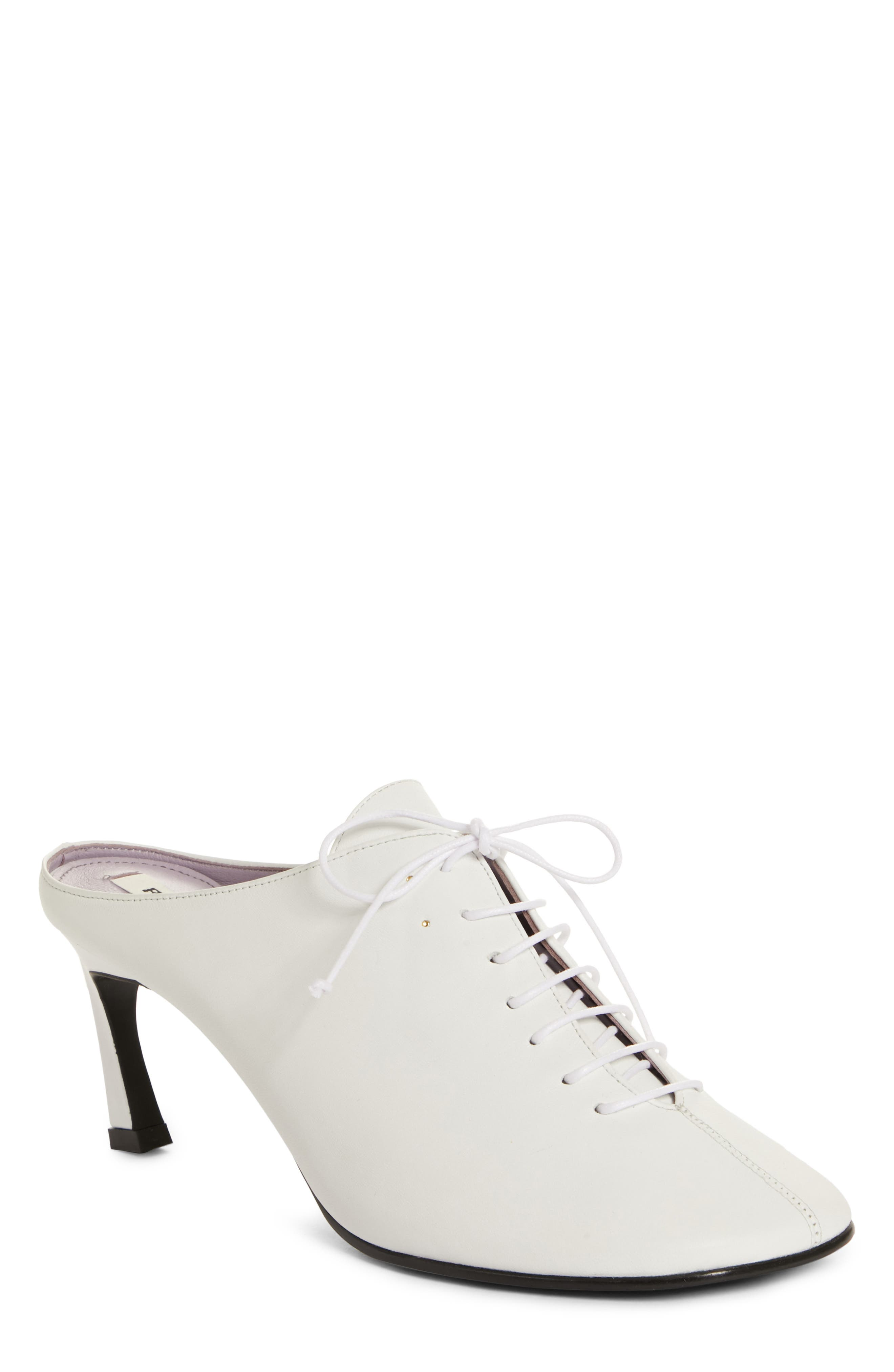 Wide Lace-Up Mule,                         Main,                         color, WHITE