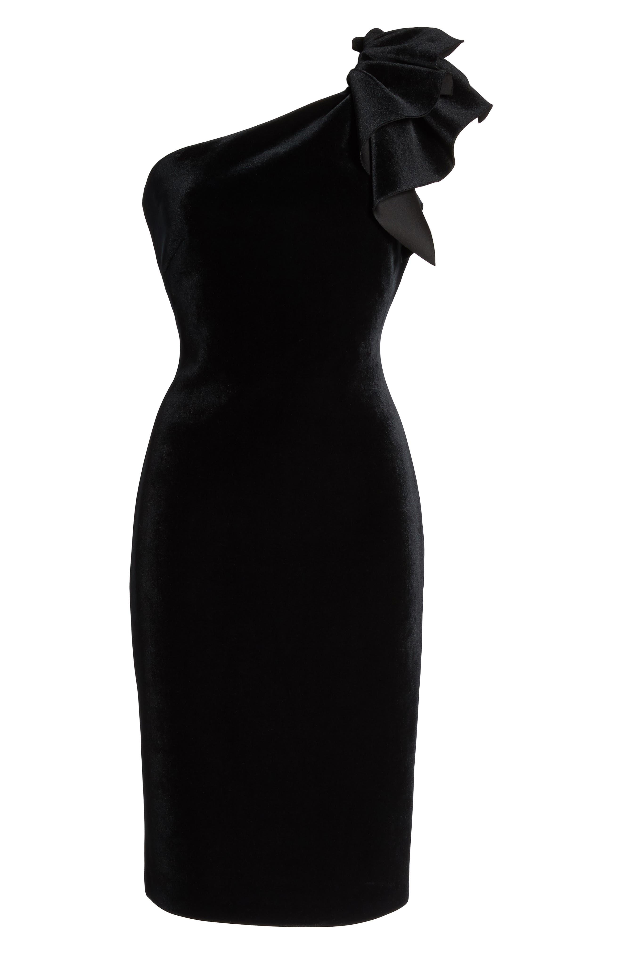 One-Shoulder Velvet Sheath Dress,                             Alternate thumbnail 6, color,                             BLACK