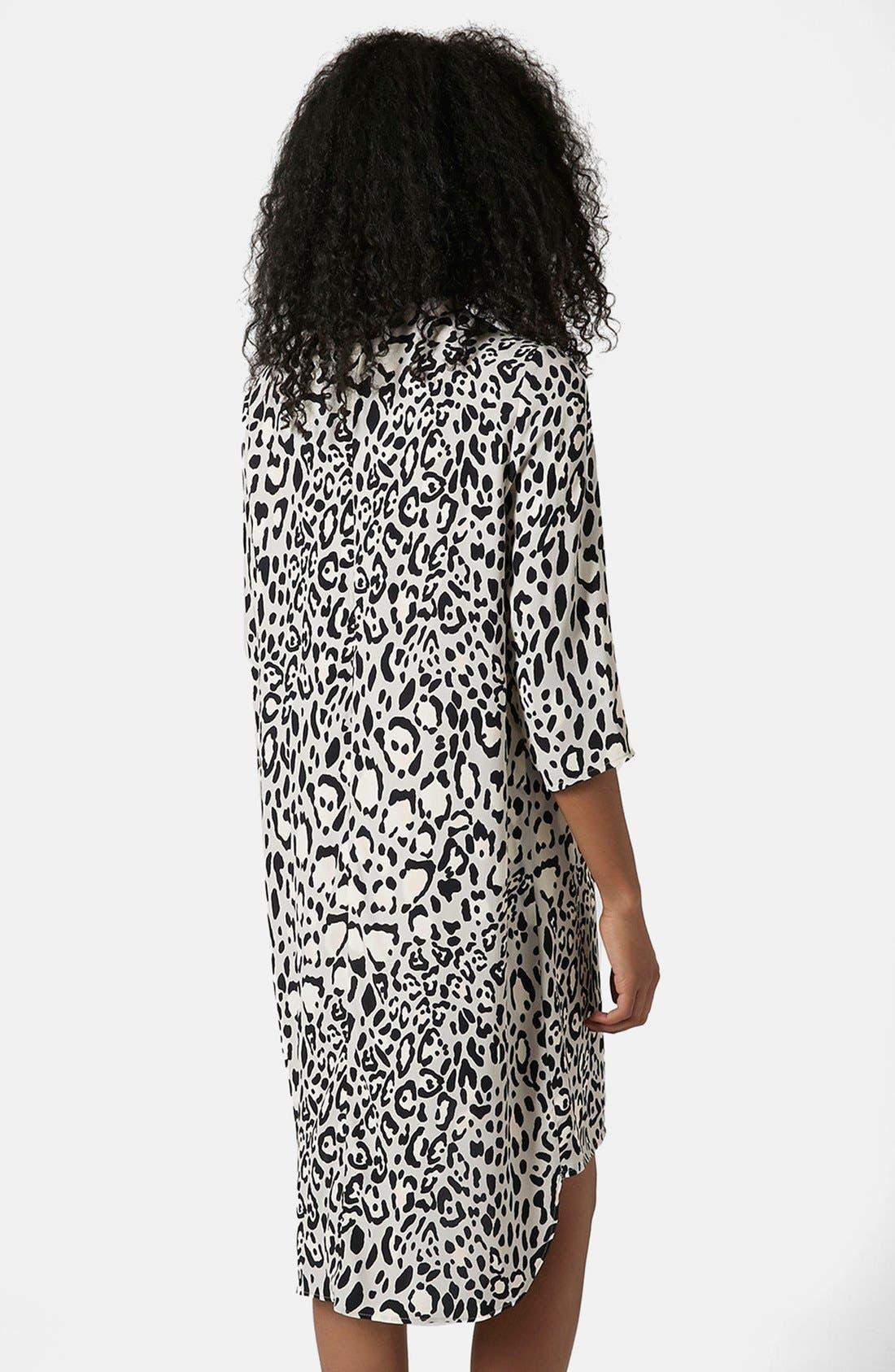 TOPSHOP,                             Monochrome High Neck Dress,                             Alternate thumbnail 3, color,                             001