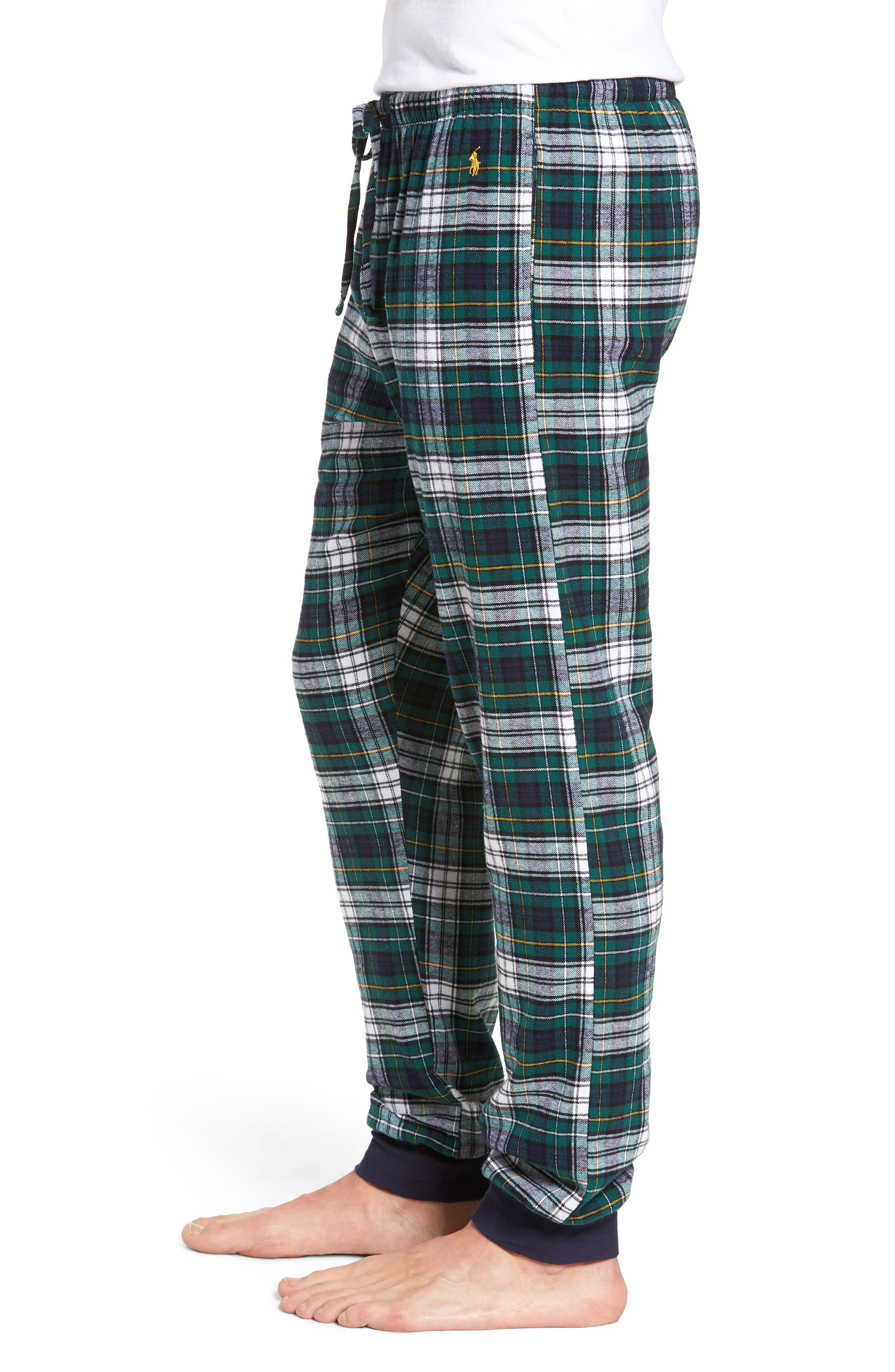 POLO RALPH LAUREN,                             Flannel Cotton Jogger Pajama Pants,                             Alternate thumbnail 3, color,                             400