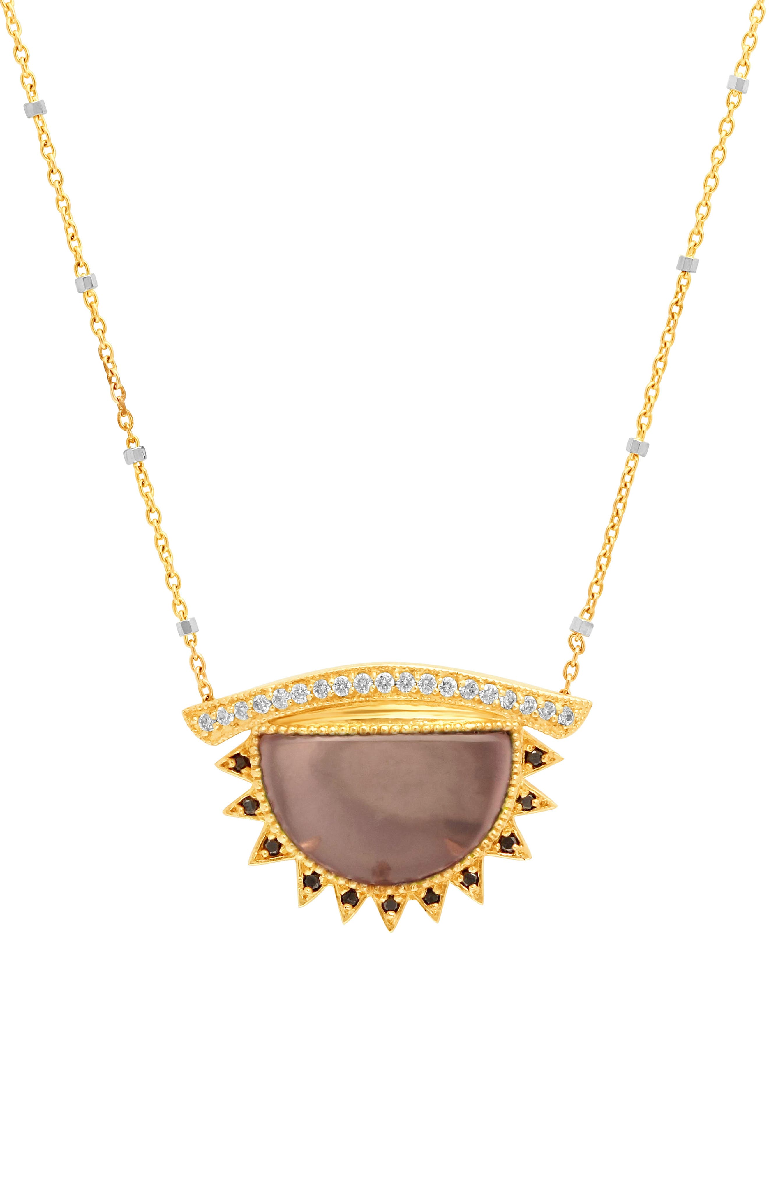 Congés 'I See You See Love' Small Rose Quartz Third Eye Necklace,                         Main,                         color, YELLOW GOLD